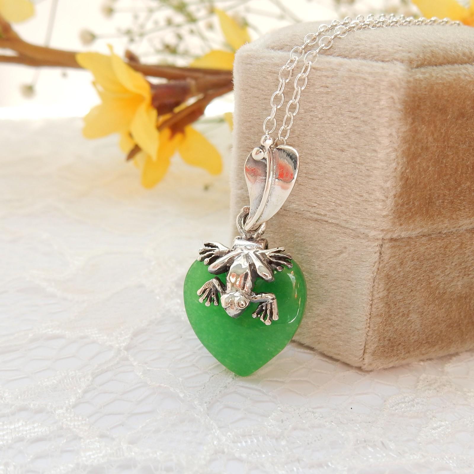 Photo of Sterling Silver Jade Frog Leaf Pendant Necklace