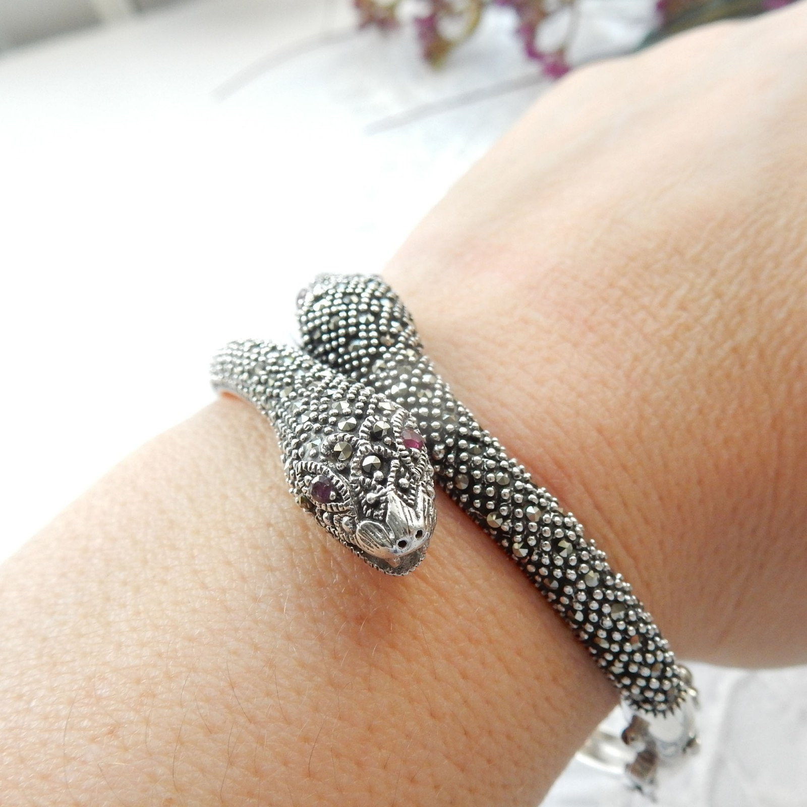 Photo of Sterling Silver Marcasite Ruby Snake Cuff Bracelet