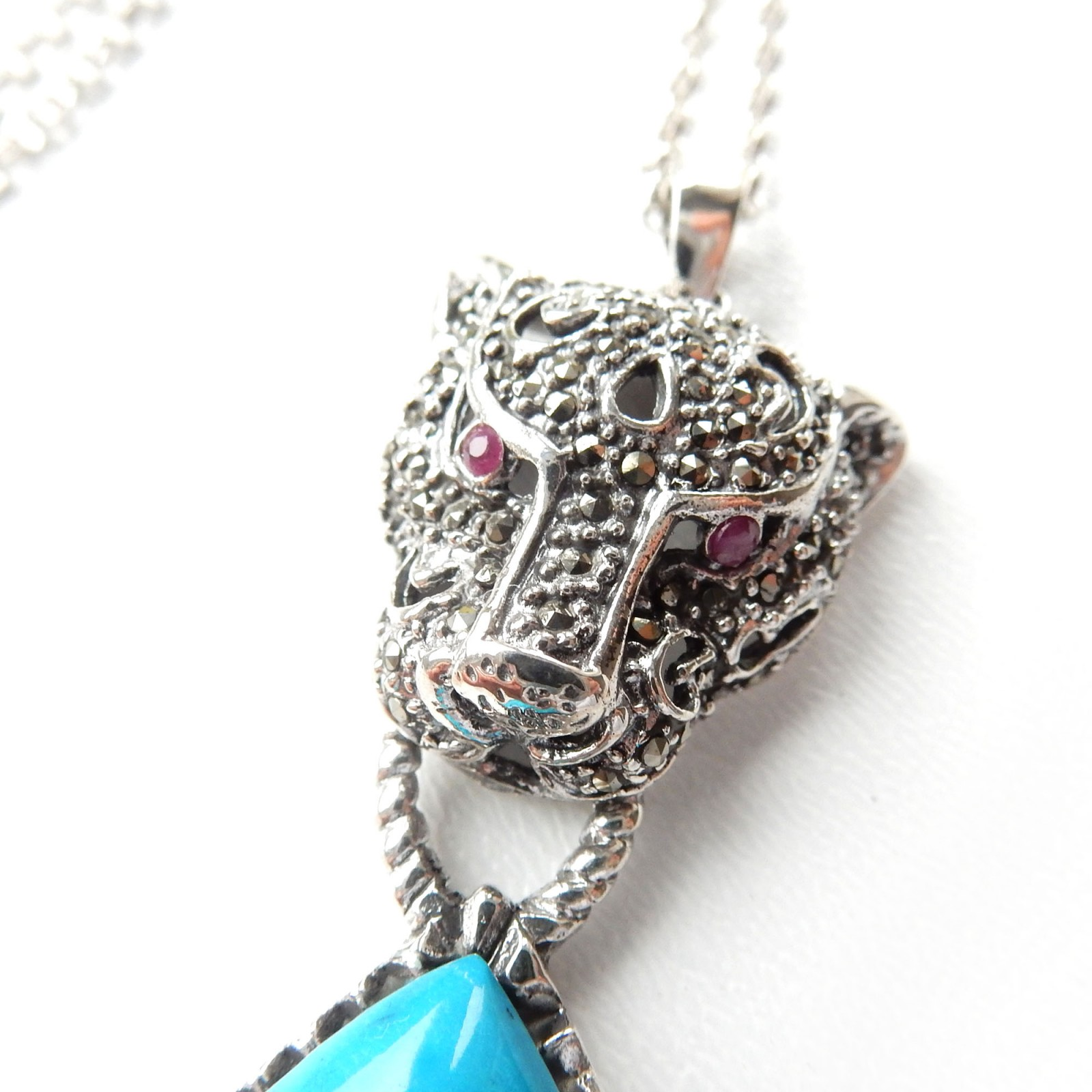 Photo of Sterling Silver Marcasite Turquoise Ruby Panther Cat Pendant Necklace