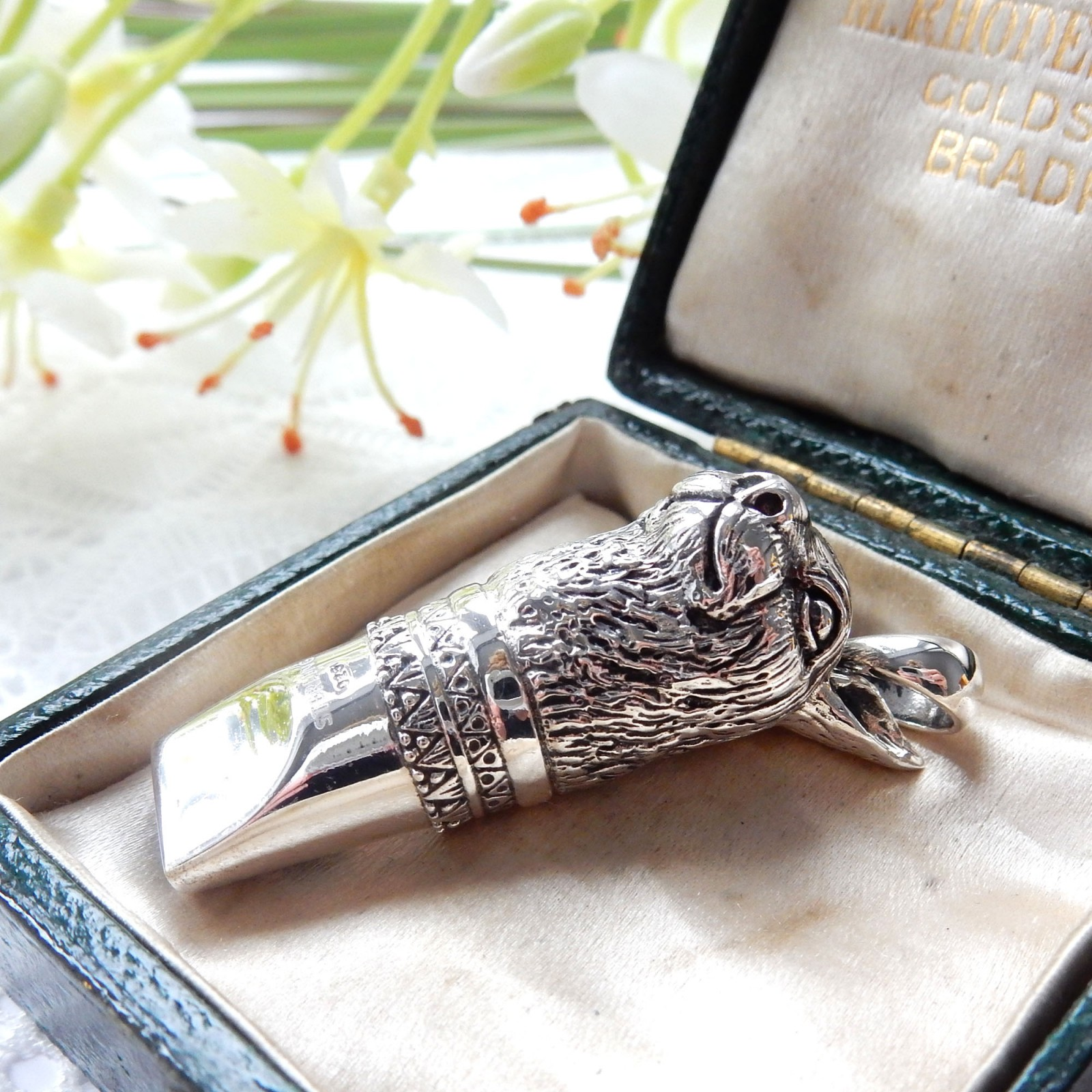 Photo of Sterling Silver Rabbit Hare Whistle Pendant Charm Dog Training Whistle