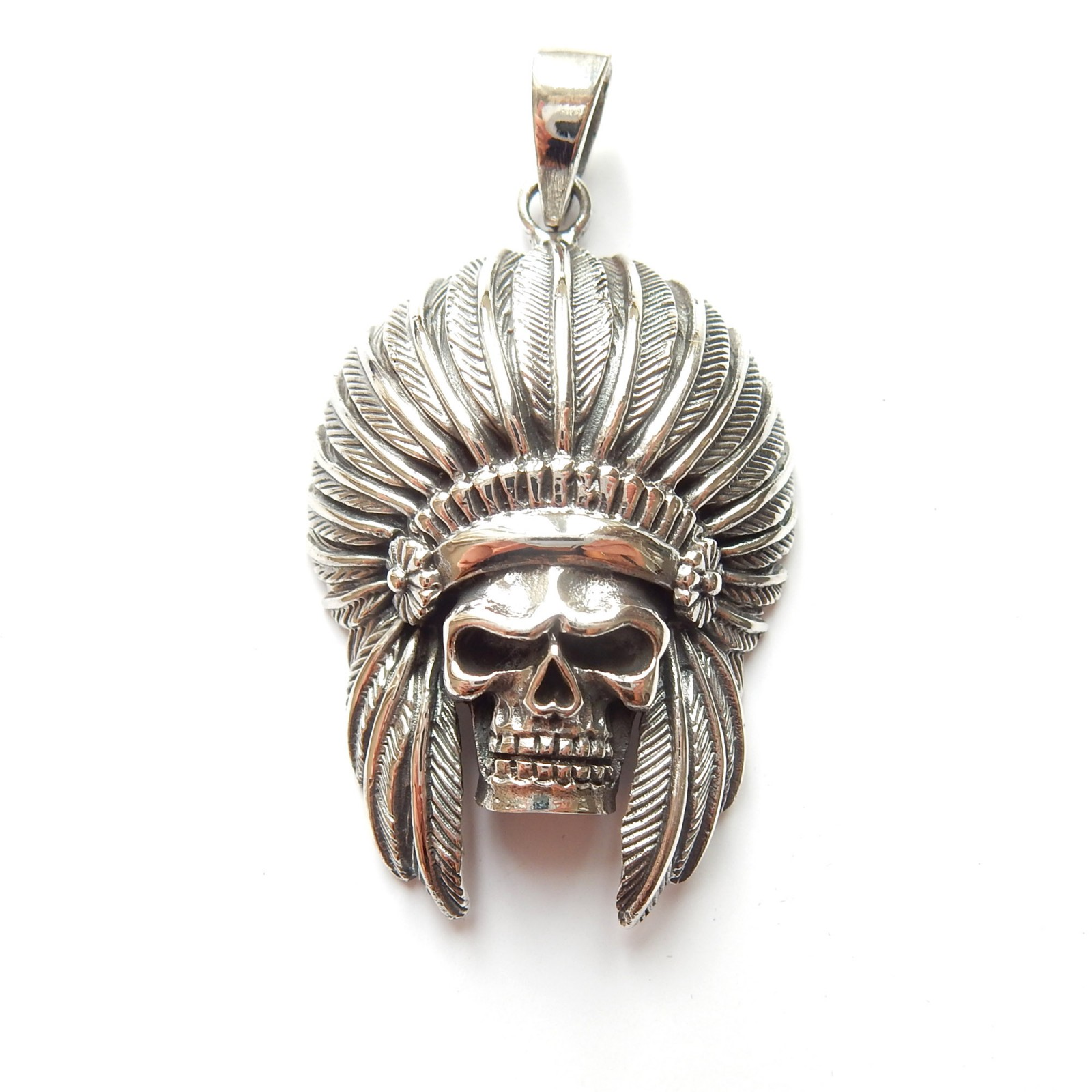 Photo of Sterling Silver Red Indian Feather Skull Pendant Gothic Jewelery