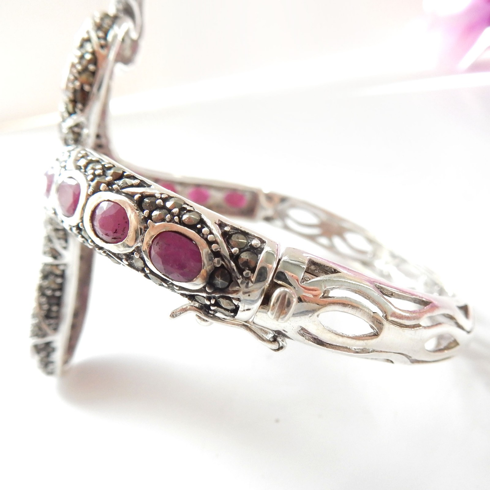 Photo of Sterling Silver Ruby Marcasite Snake Serpent Bracelet Cuff July Birthstone