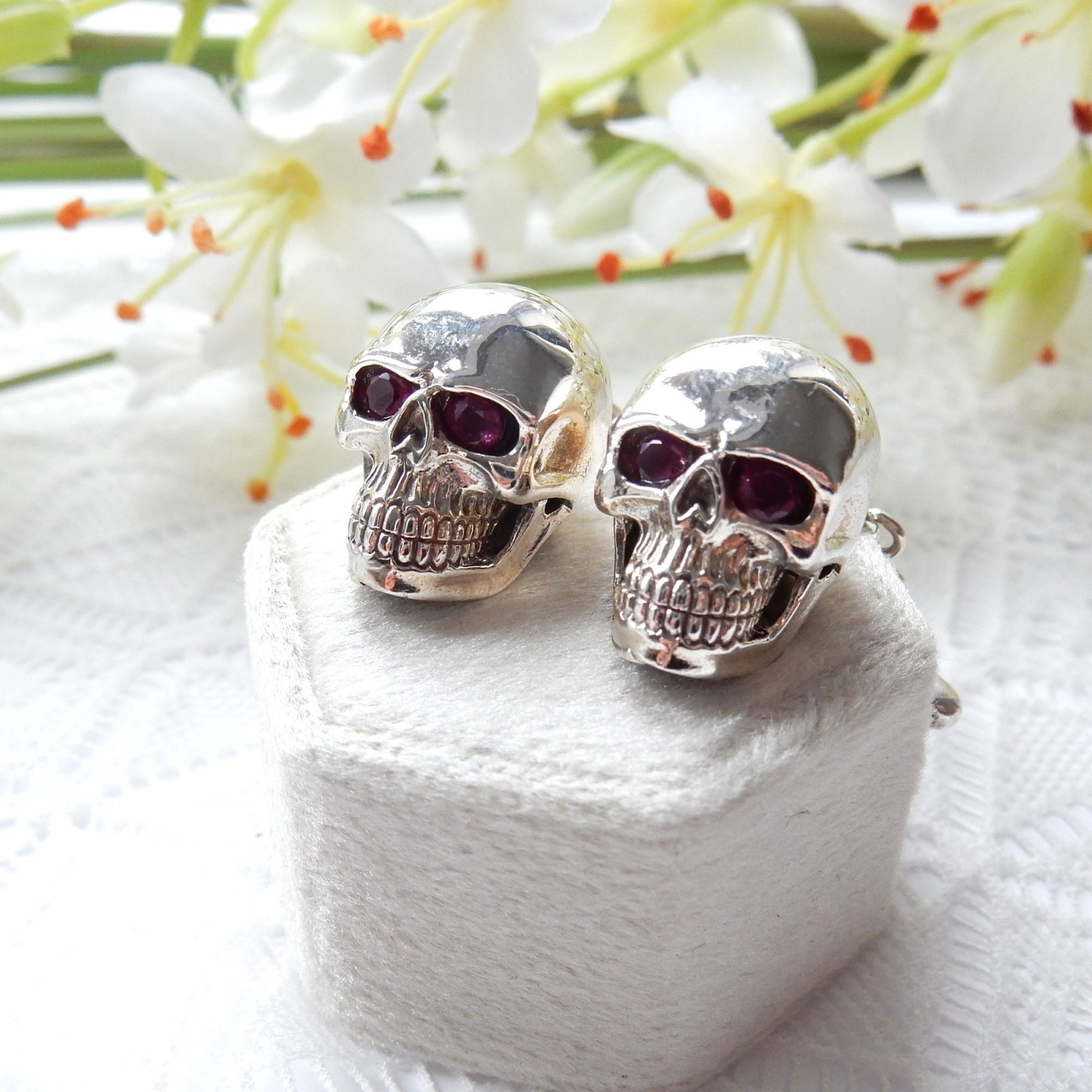 Photo of Sterling Silver Ruby Skull Bone Cufflinks Mens Jewelry