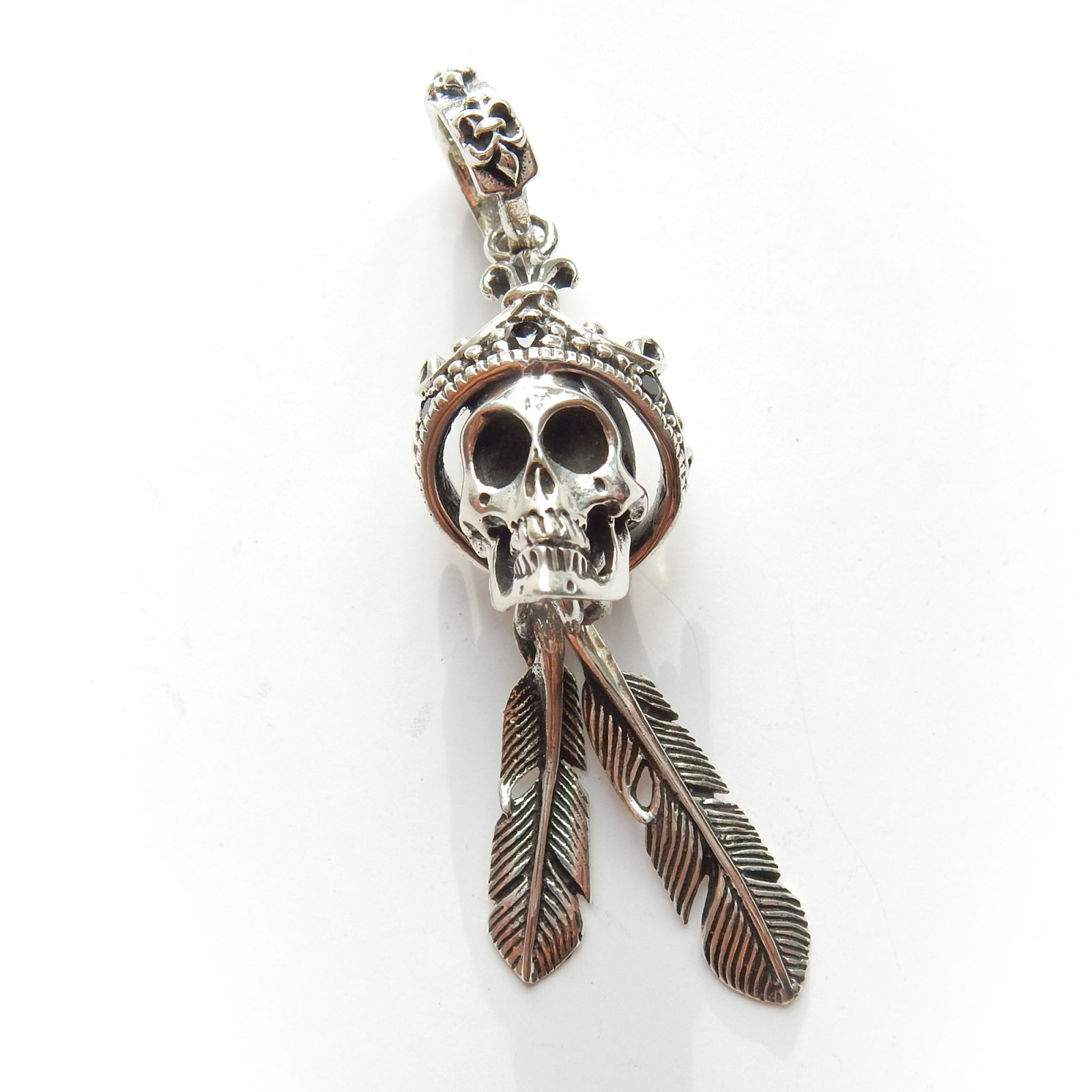 Photo of Sterling Silver Ruby Skull Crown Feather Pendant Gothic Pendant
