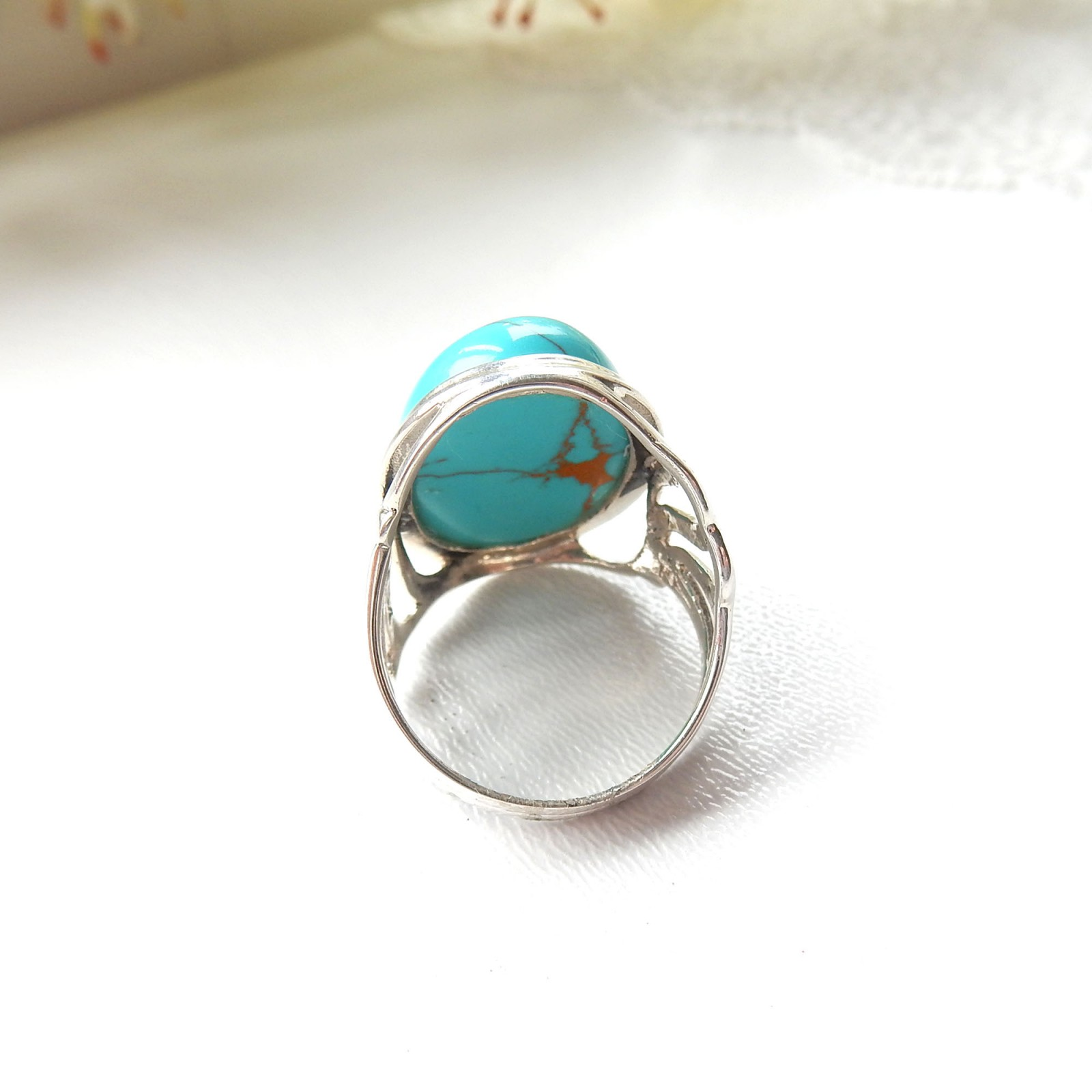 Photo of Sterling Silver Turquoise Ring US Size 8.5 December Birthstone