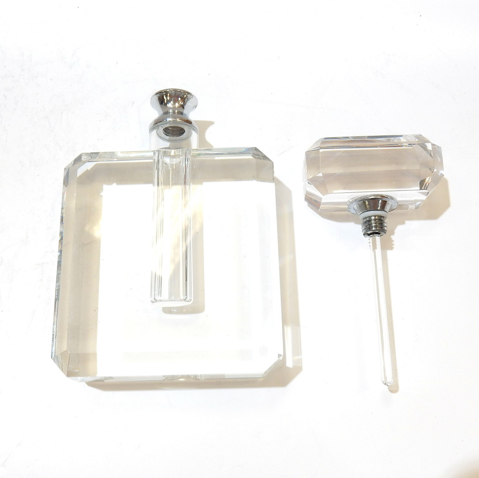Photo of Stunning Crystal Cut Glass Perfume Bottle Scent Bottle with Dibber
