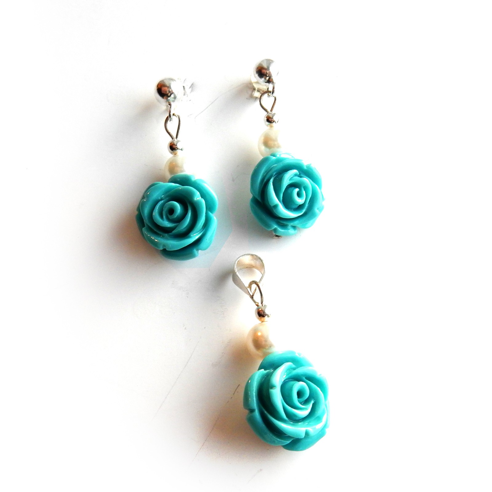 Photo of Turquoise Pearl Flower Earrings Pendant Jewelery Set Sterling Silver
