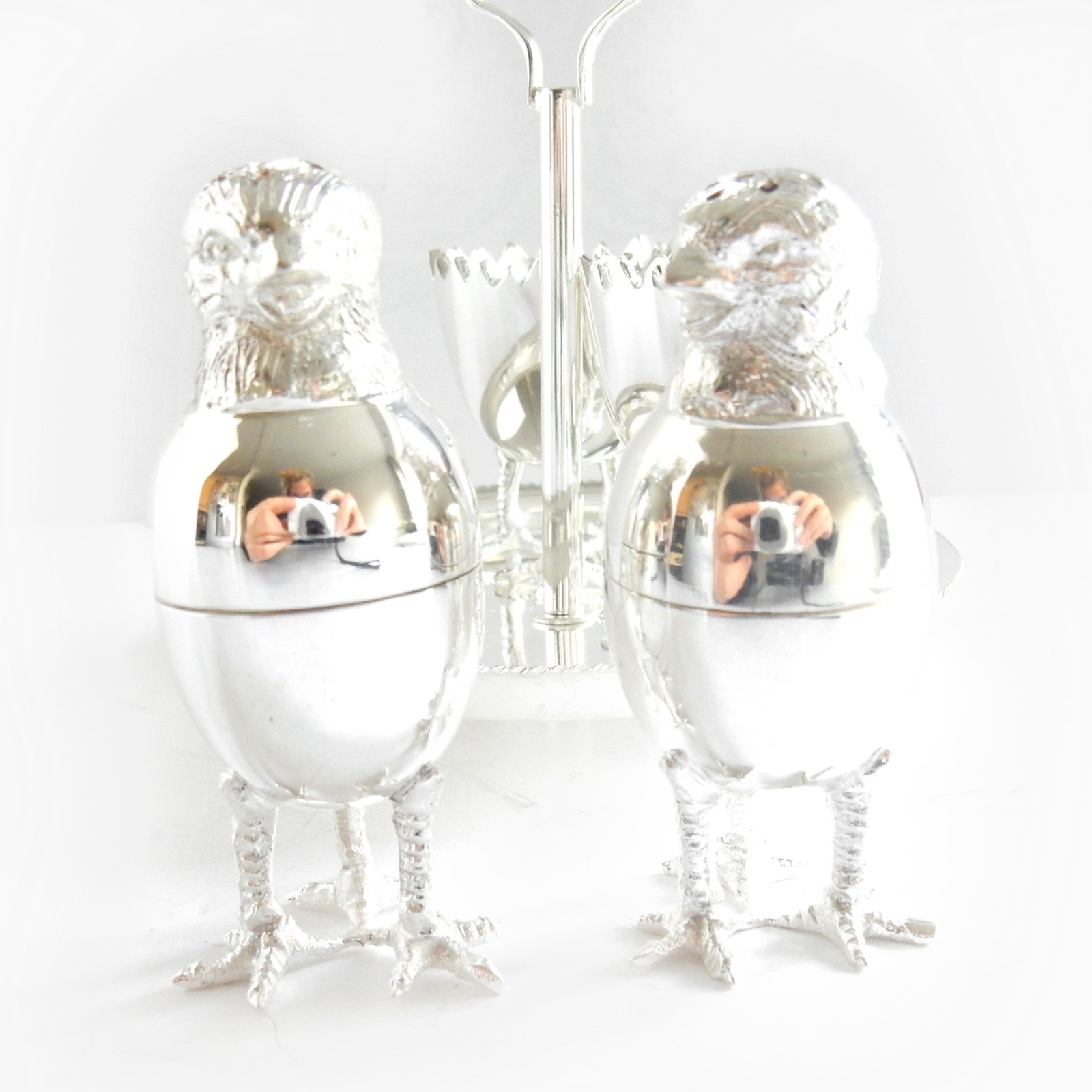Photo of Victorian Silverplated Novelty Chick Egg Cup Salt & Pepper Set James Dixon & Sons