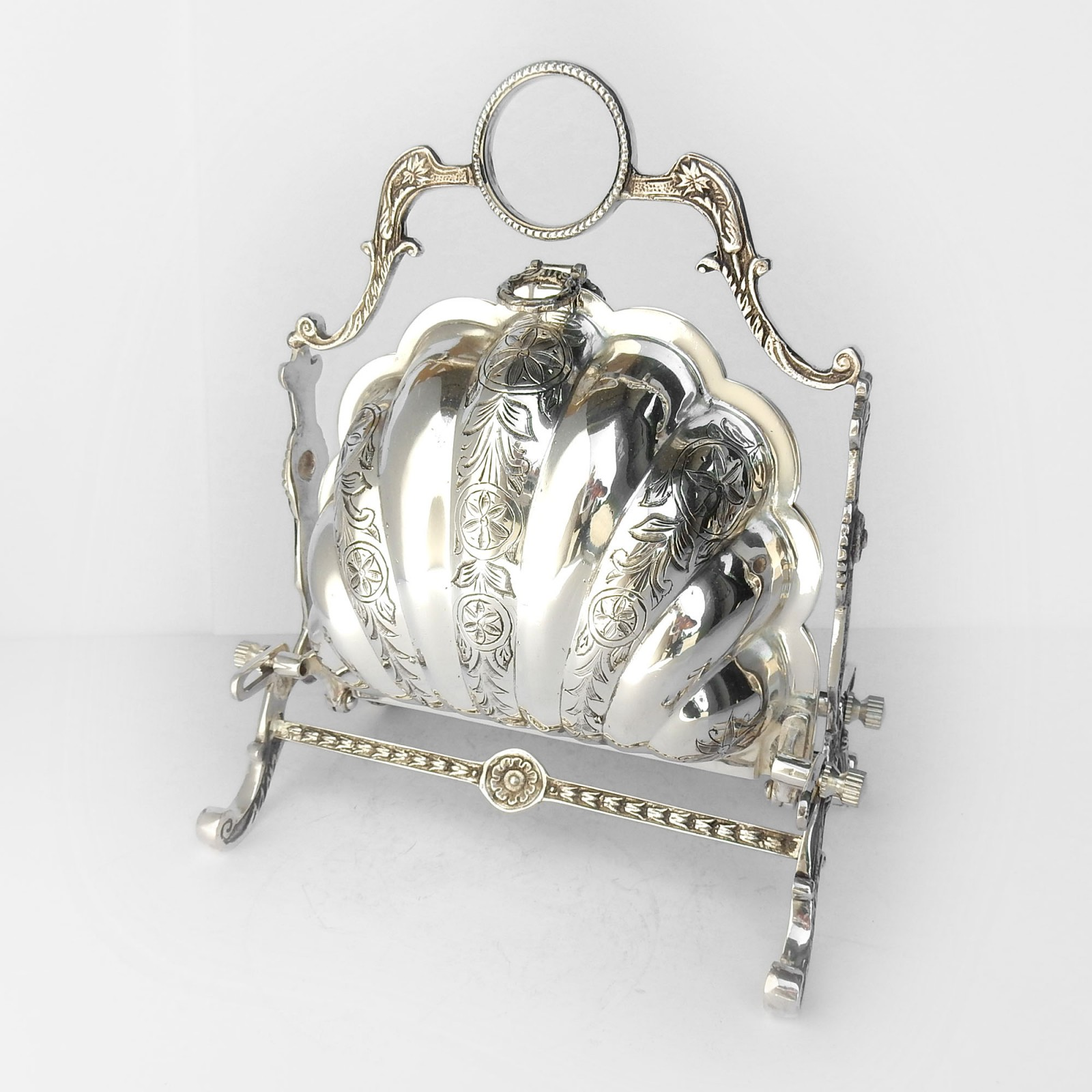 Photo of Victorian Silverplated Scallop Shell Biscuit Box