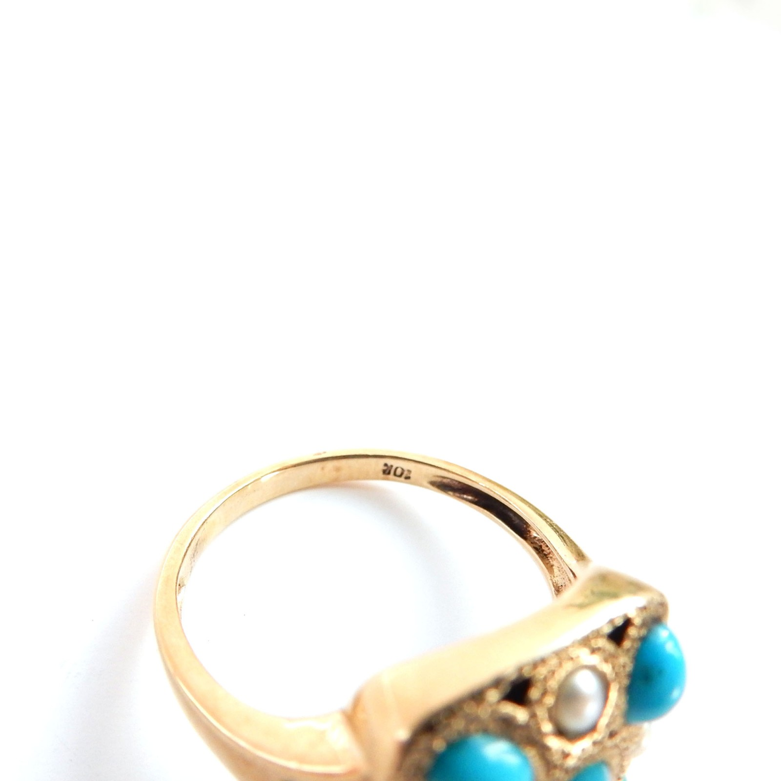 Photo of Vintage 10k Gold Turquoise Seed Pearl Ring Size 7 December Birthstone