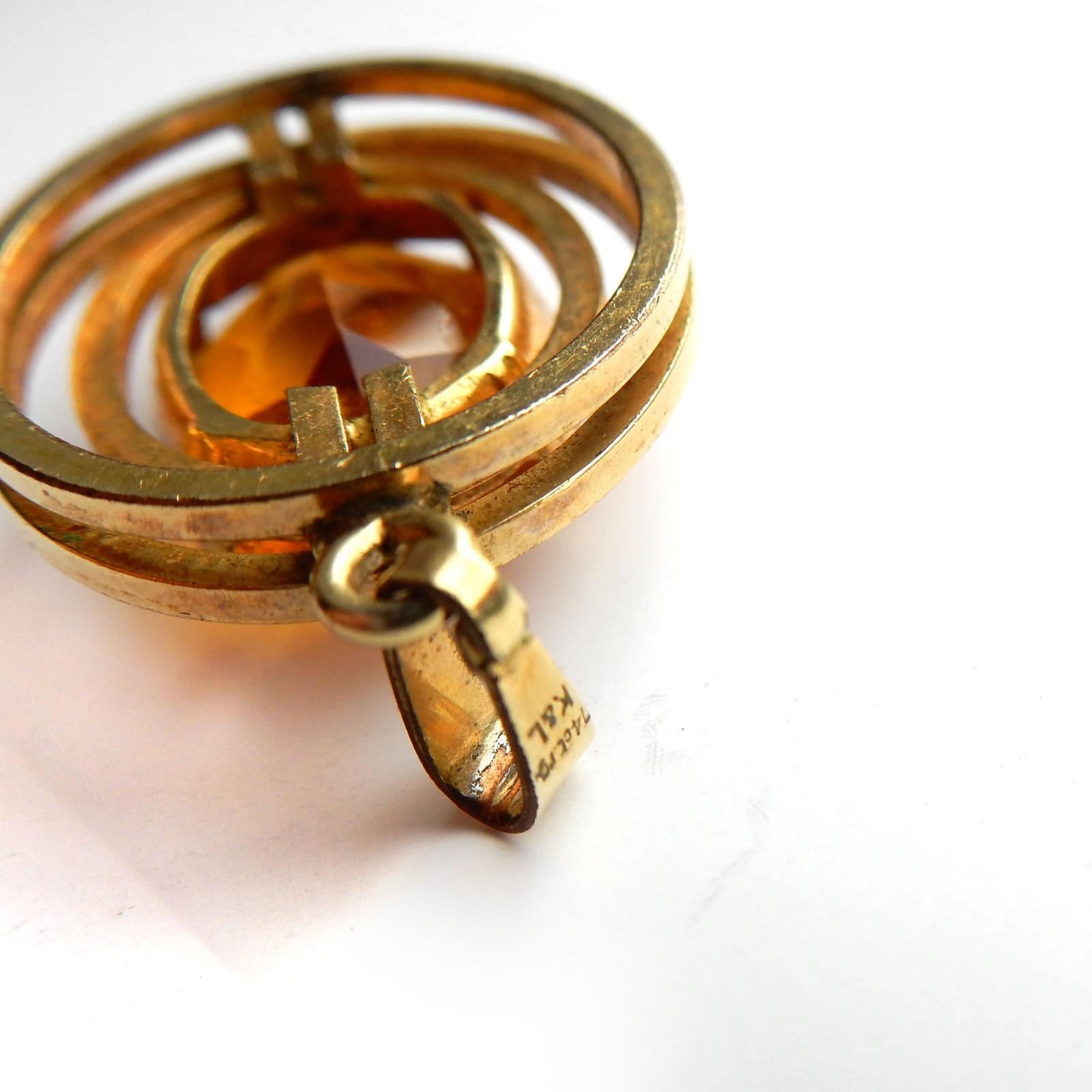 Photo of Vintage 14 Carat Rolled Gold Citrine Pendant Signed K&L