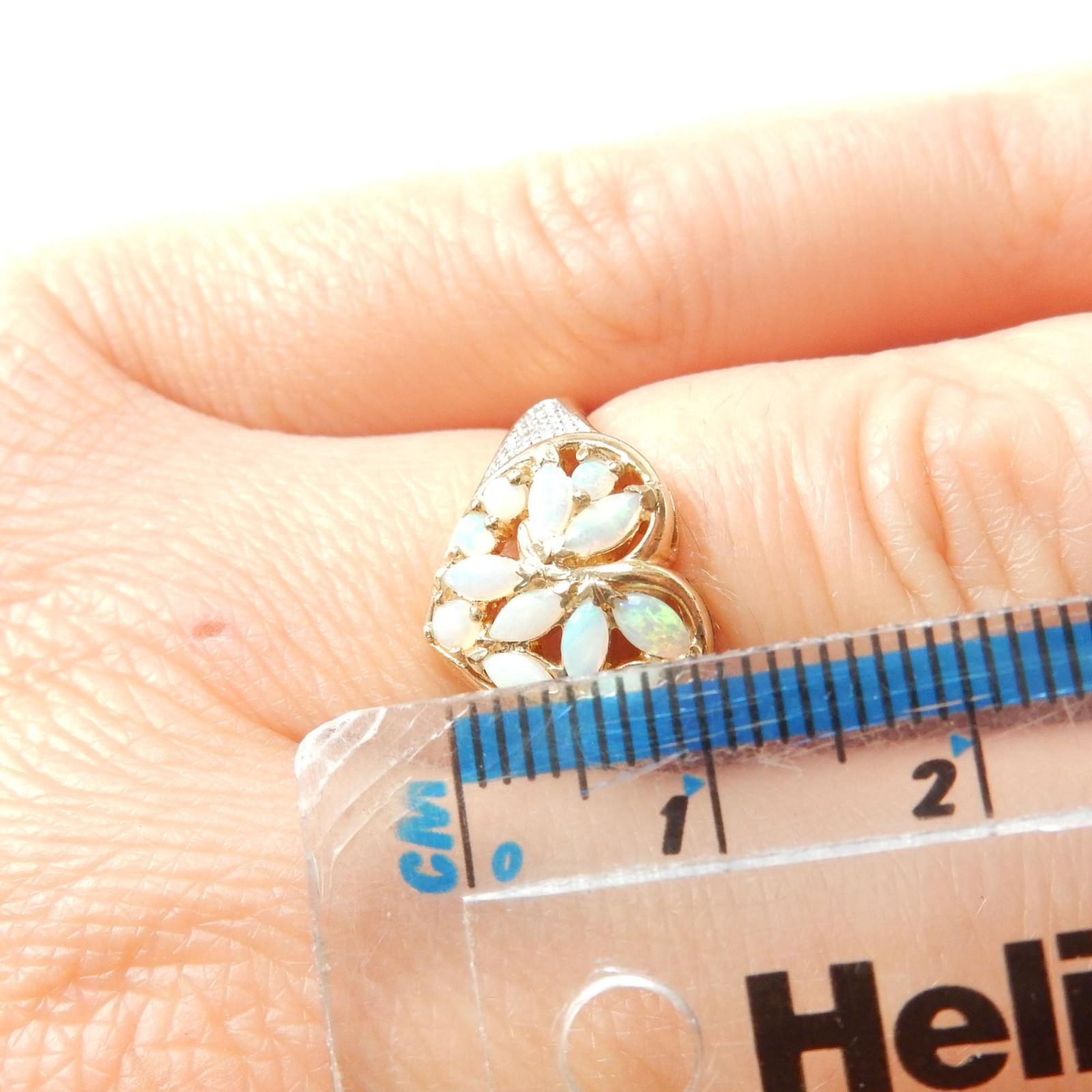 Photo of Vintage 9 Carat Gold Opal Heart Ring Size 7 October Birthstone