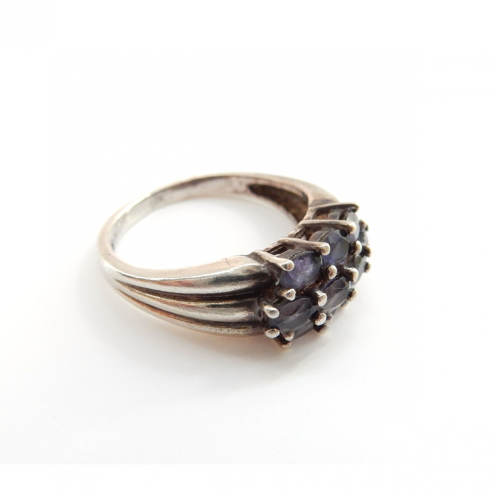 Photo of Vintage Amethyst Cluster Ring Sterling Silver February Birthstone Jewelery