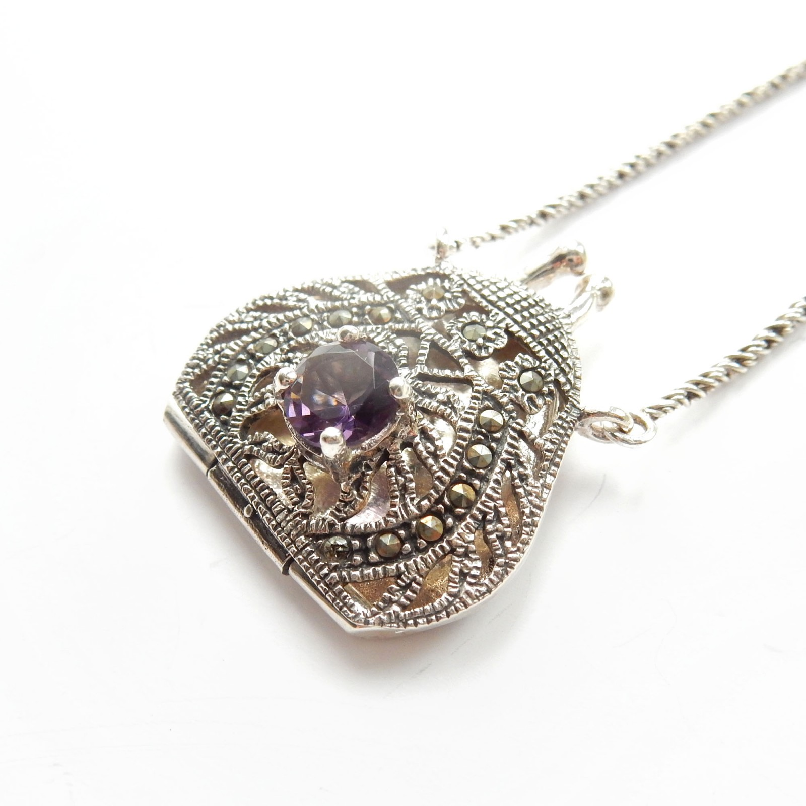 Photo of Vintage Amethyst Glass Marcasite Filigree Purse Locket Necklace Sterling Silver