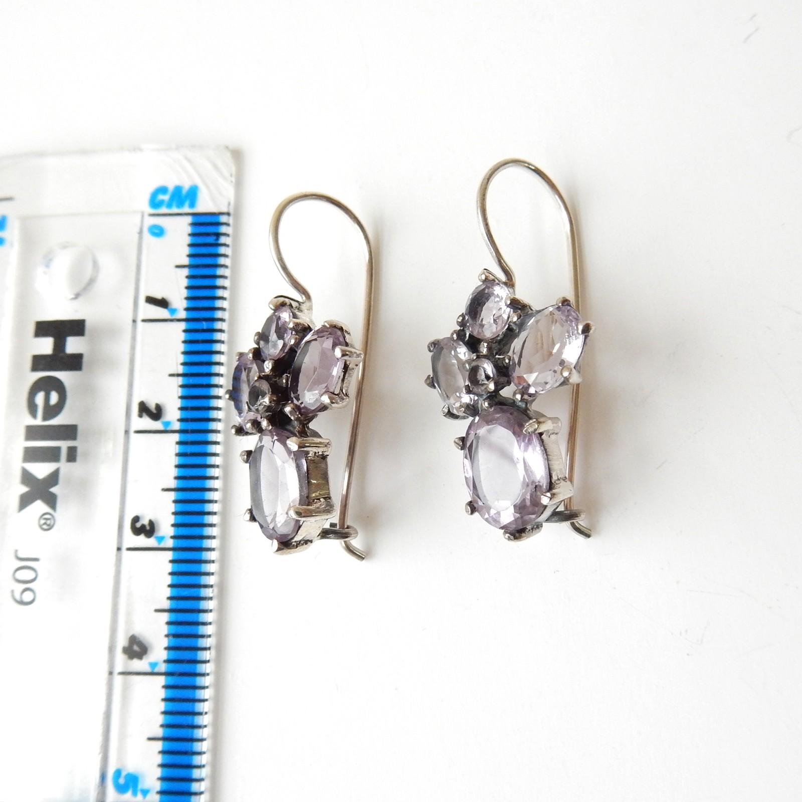Photo of Vintage Amethyst Hook Earrings Solid Silver