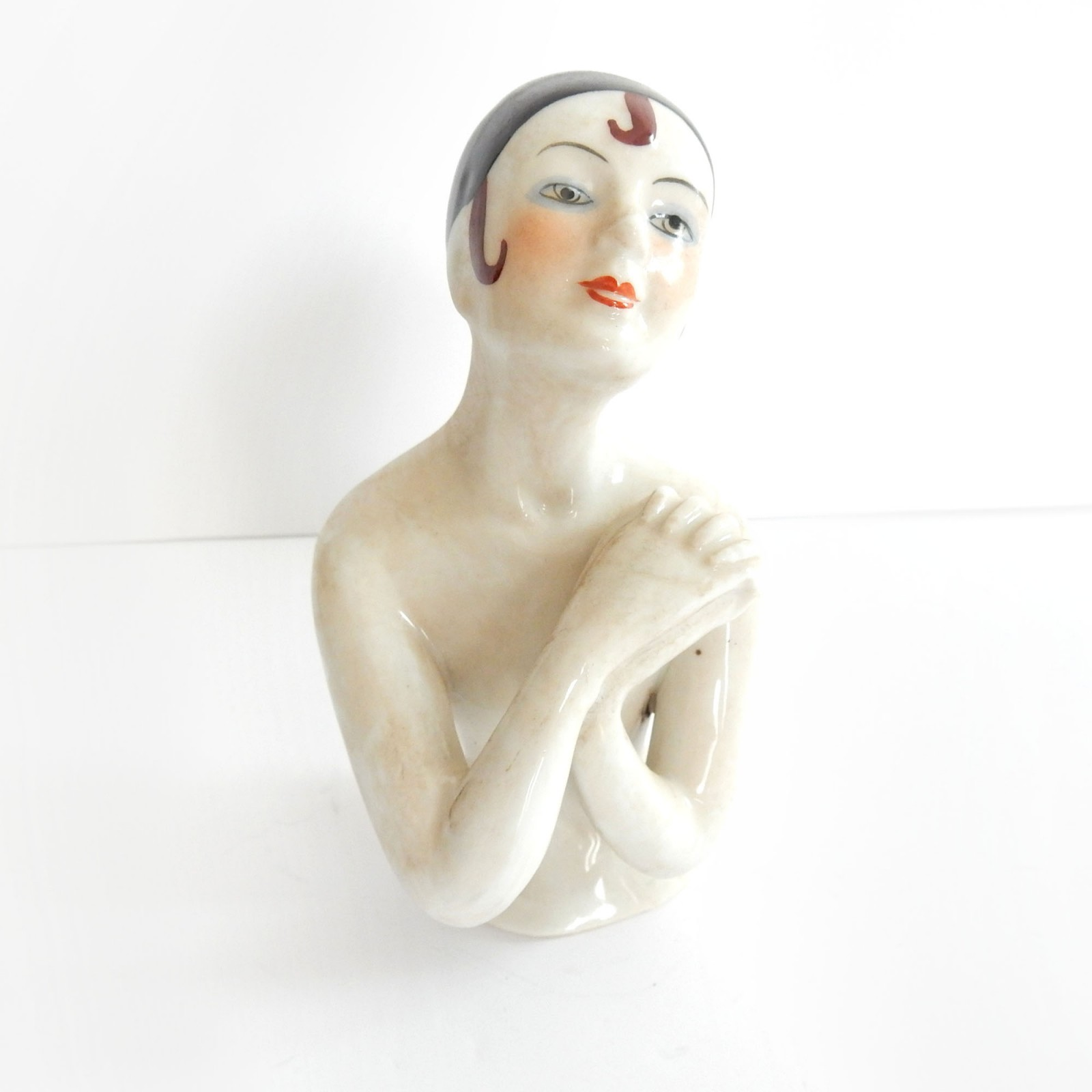 Photo of Vintage Art Deco Porcelain Flapper Pin Doll Lady Half Doll Pin Cushion
