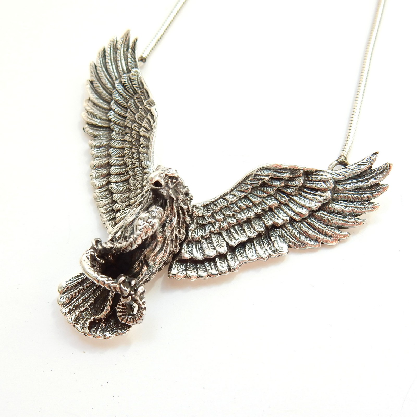 Photo of Vintage Articulated Flying Eagle Bird of Prey Necklace Pendant Sterling Silver
