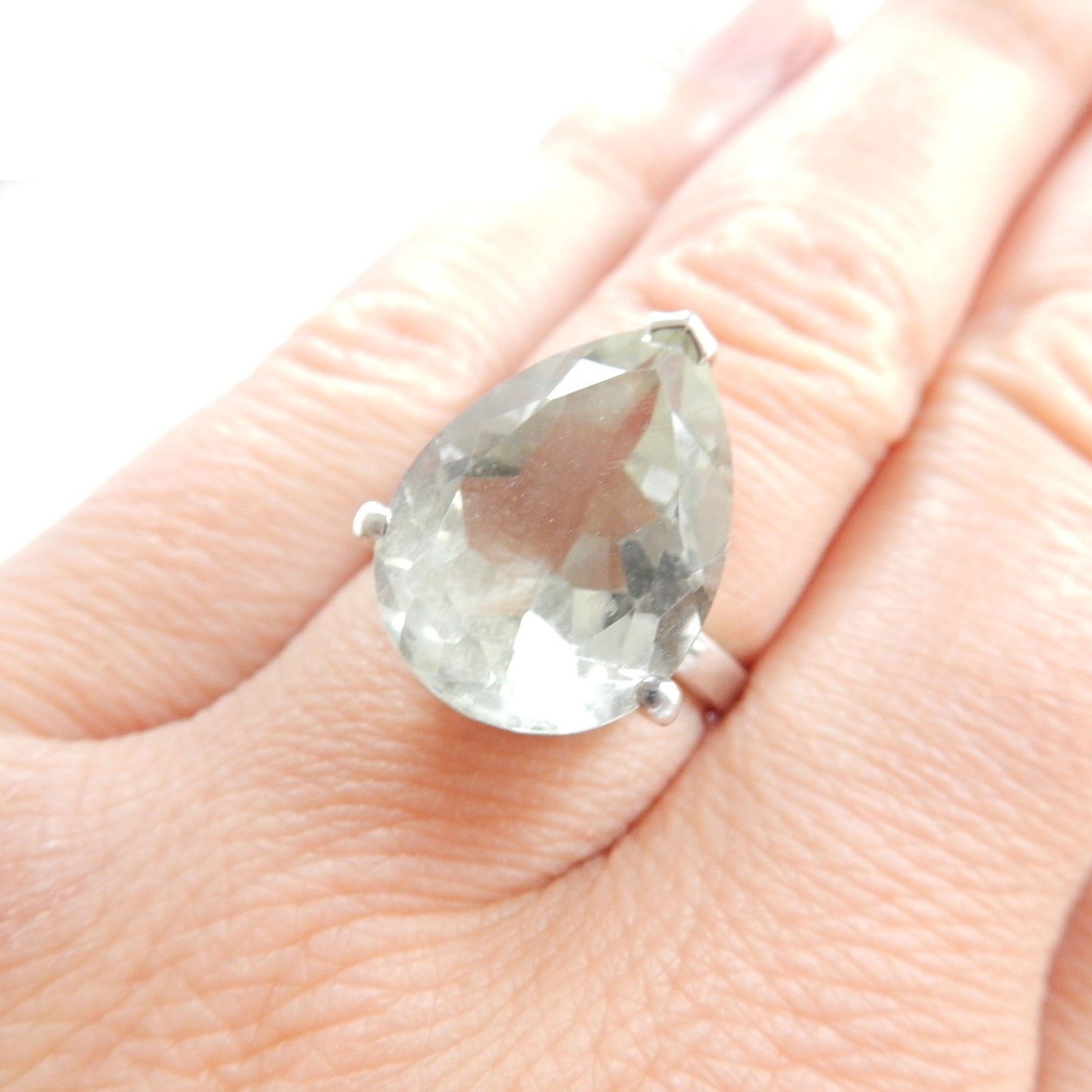 Photo of Vintage Brazilian Green Amethyst Ring Sterling Silver
