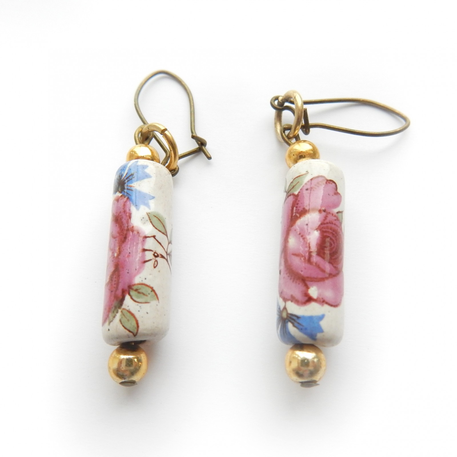 Photo of Vintage China Painted Rose Ceramic Earrings