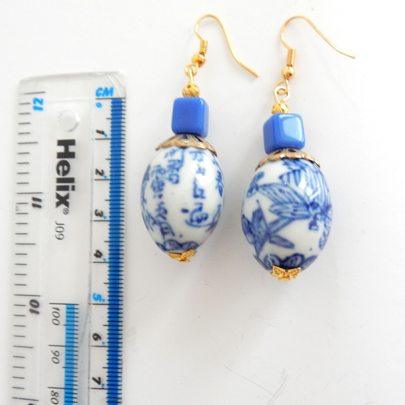 Photo of Vintage Chinese Porcelain Pottery Droplet Earrings