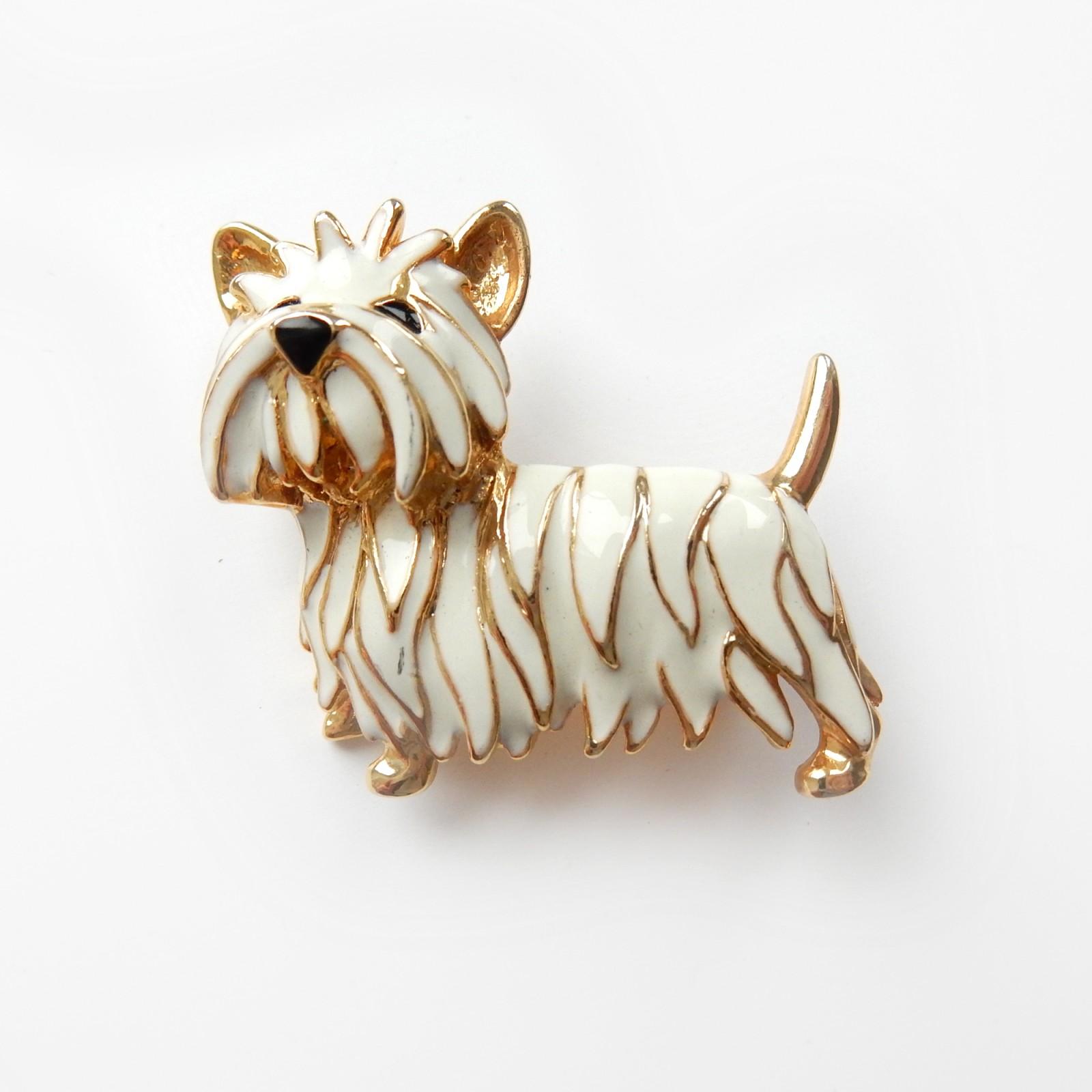 Photo of Vintage Enamel Gold Yorkshire Terrier Dog Brooch
