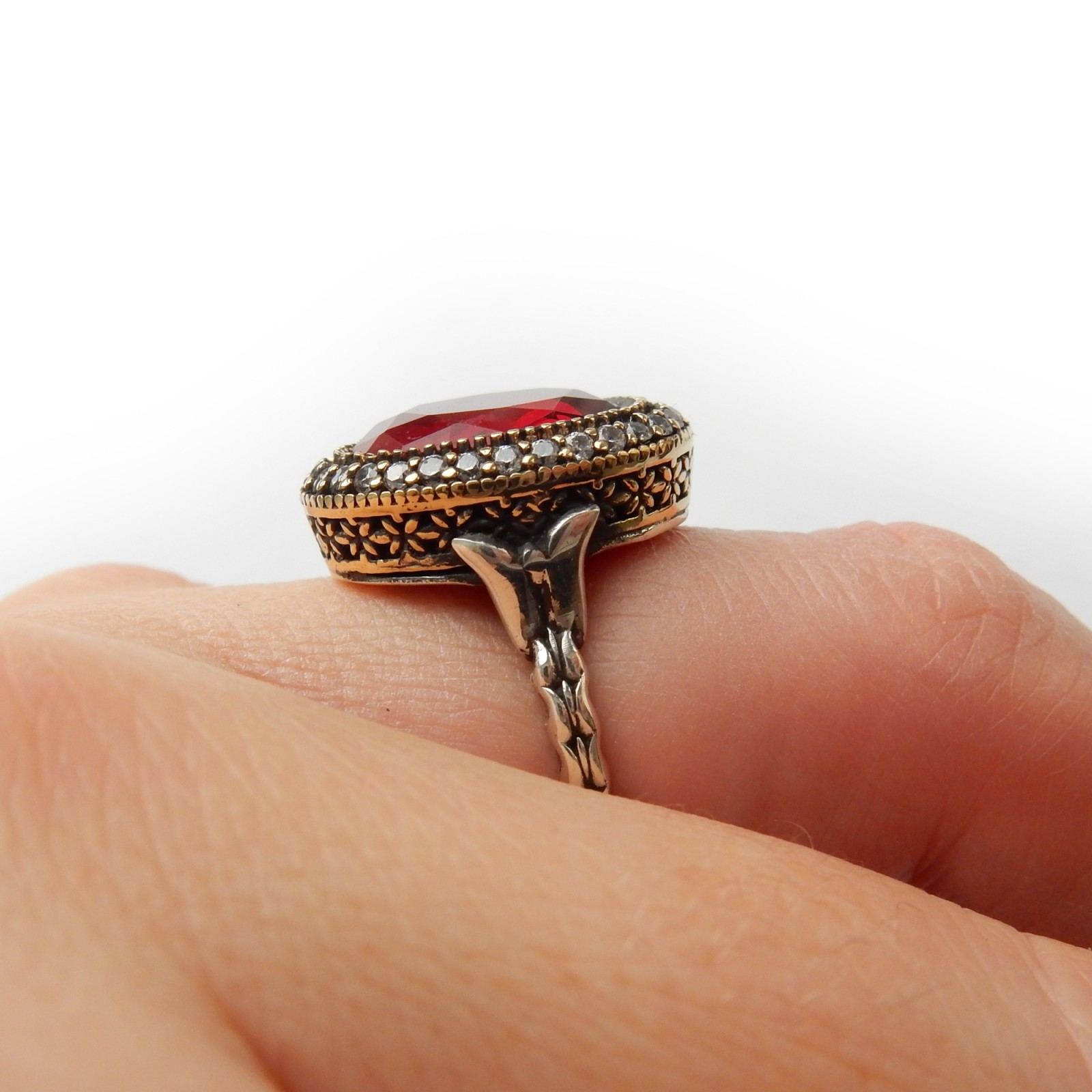Photo of Vintage Filigree Vermeil Red Chalcedony Ring Sterling Silver