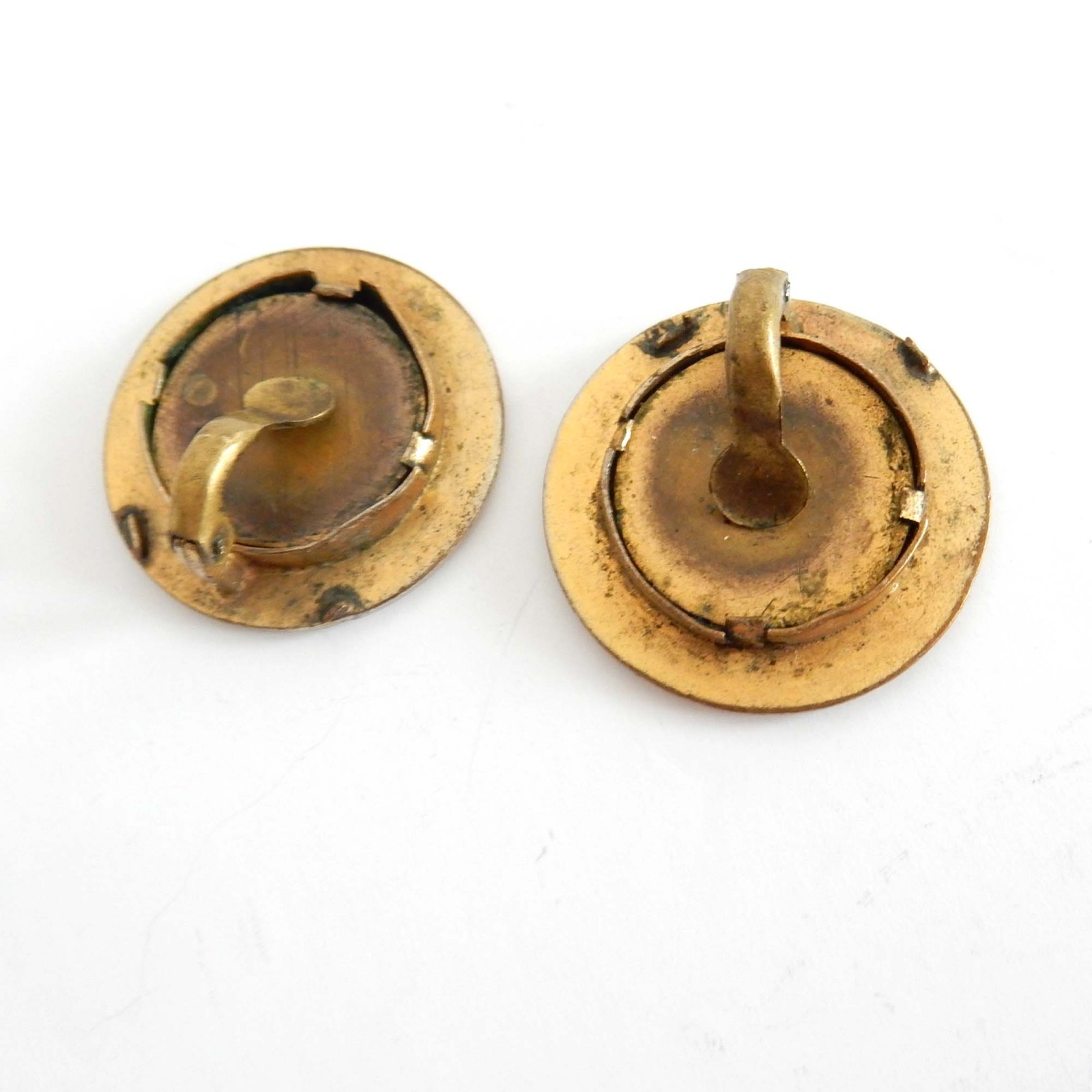 Photo of Vintage French Hand Painted Brass Clip on Earrings Signed