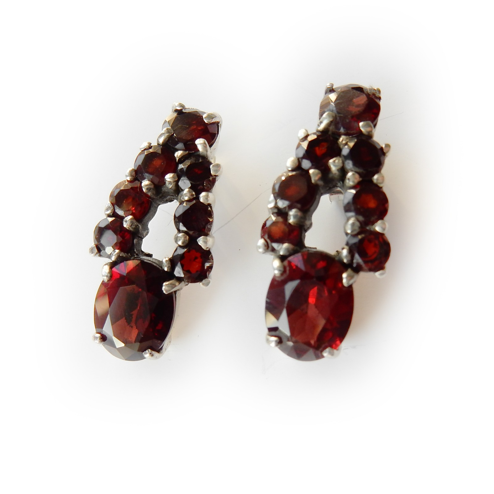 Photo of Vintage Garnet Drop Earrings Sterling Silver