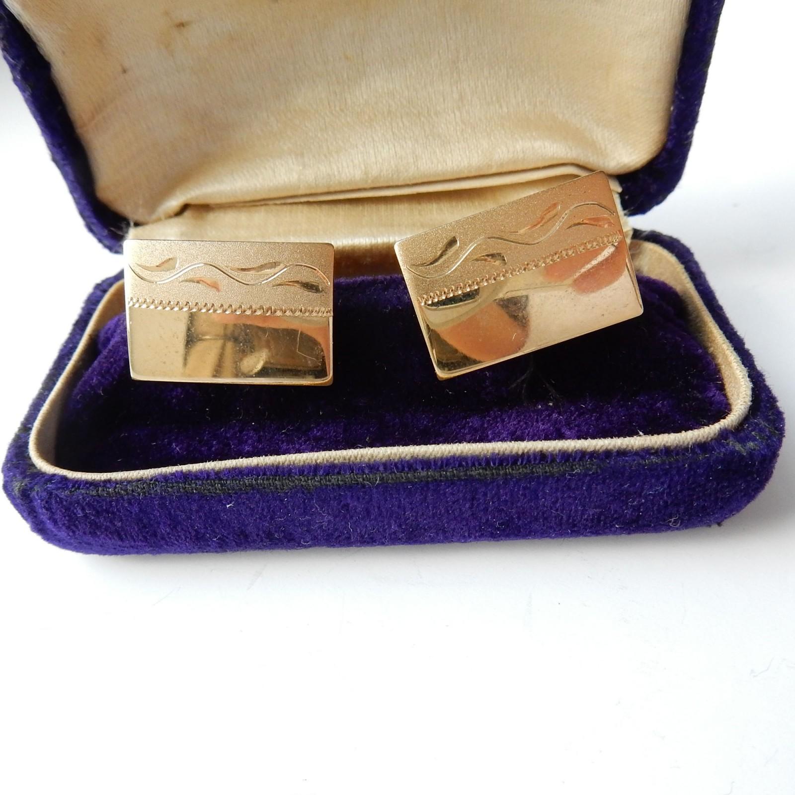 Photo of Vintage Gold Engraved Gentlemans Cufflinks Wedding Gift Accessory