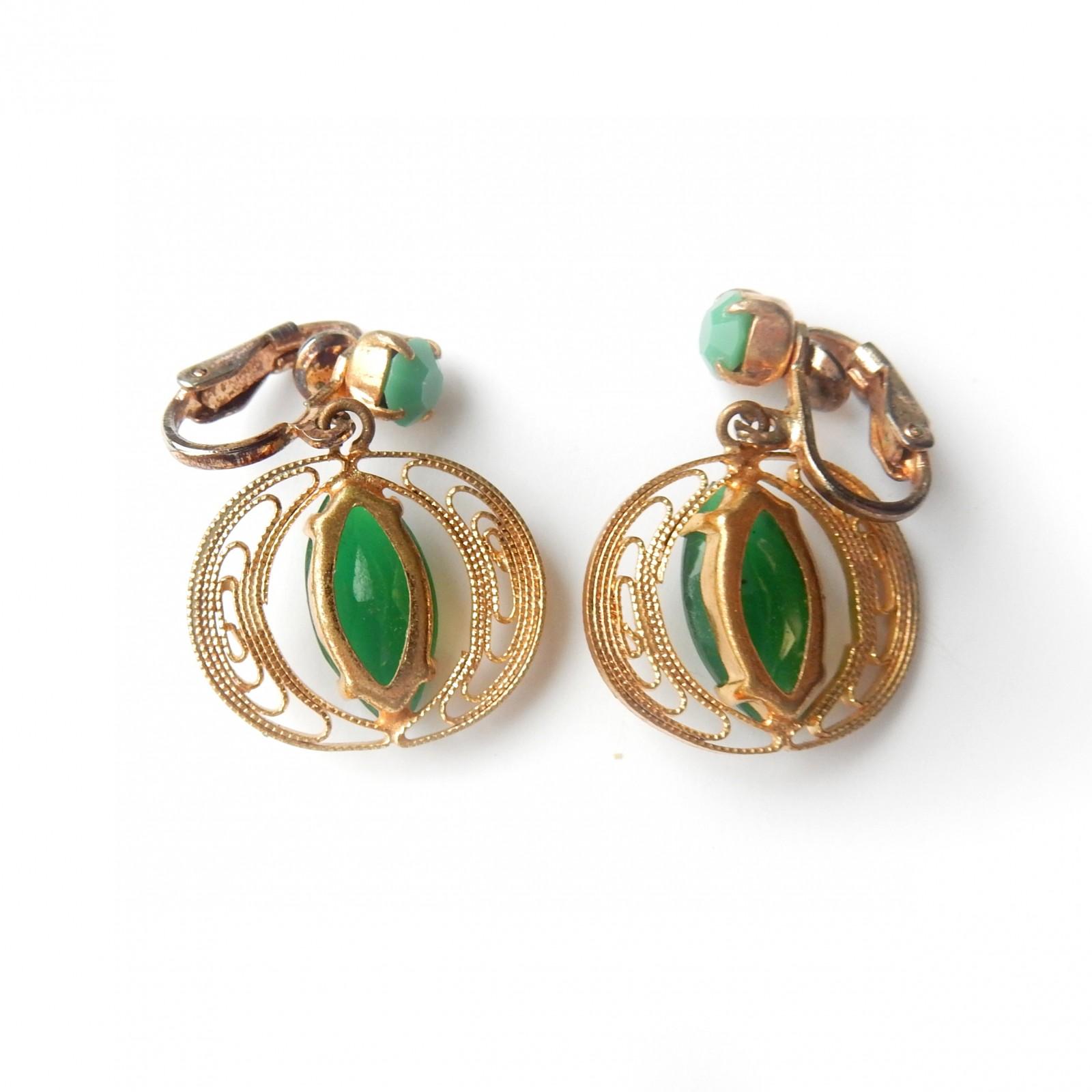 Photo of Vintage Gold Filigree Jade Clip on Earrings