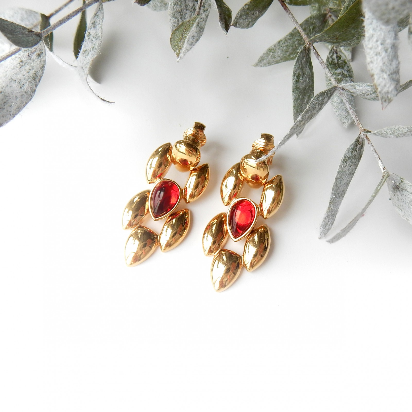 Photo of Vintage Gold Garnet Red Clip on Earrings