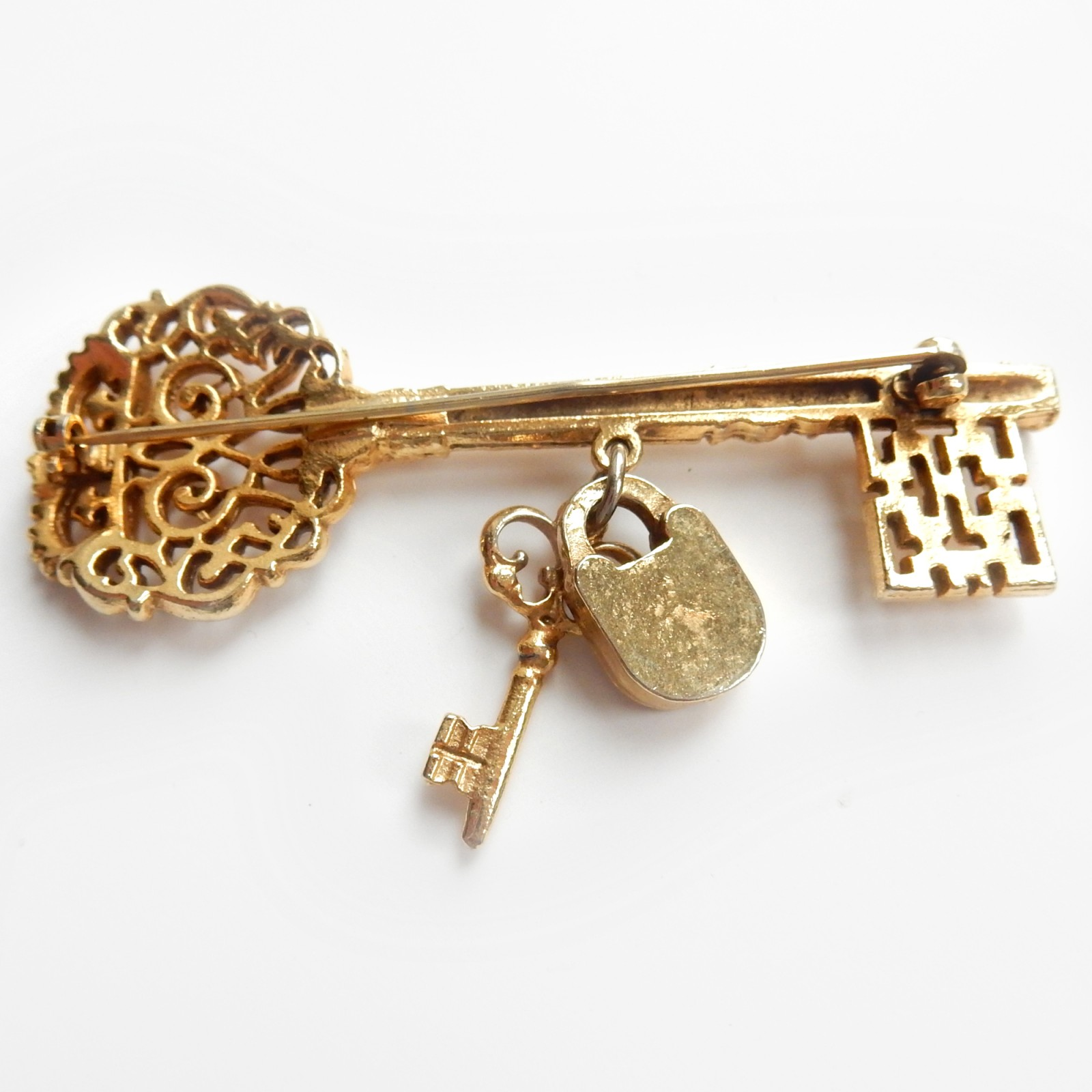 Photo of Vintage Gold Padlock Key Brooch Love Token Jewelery