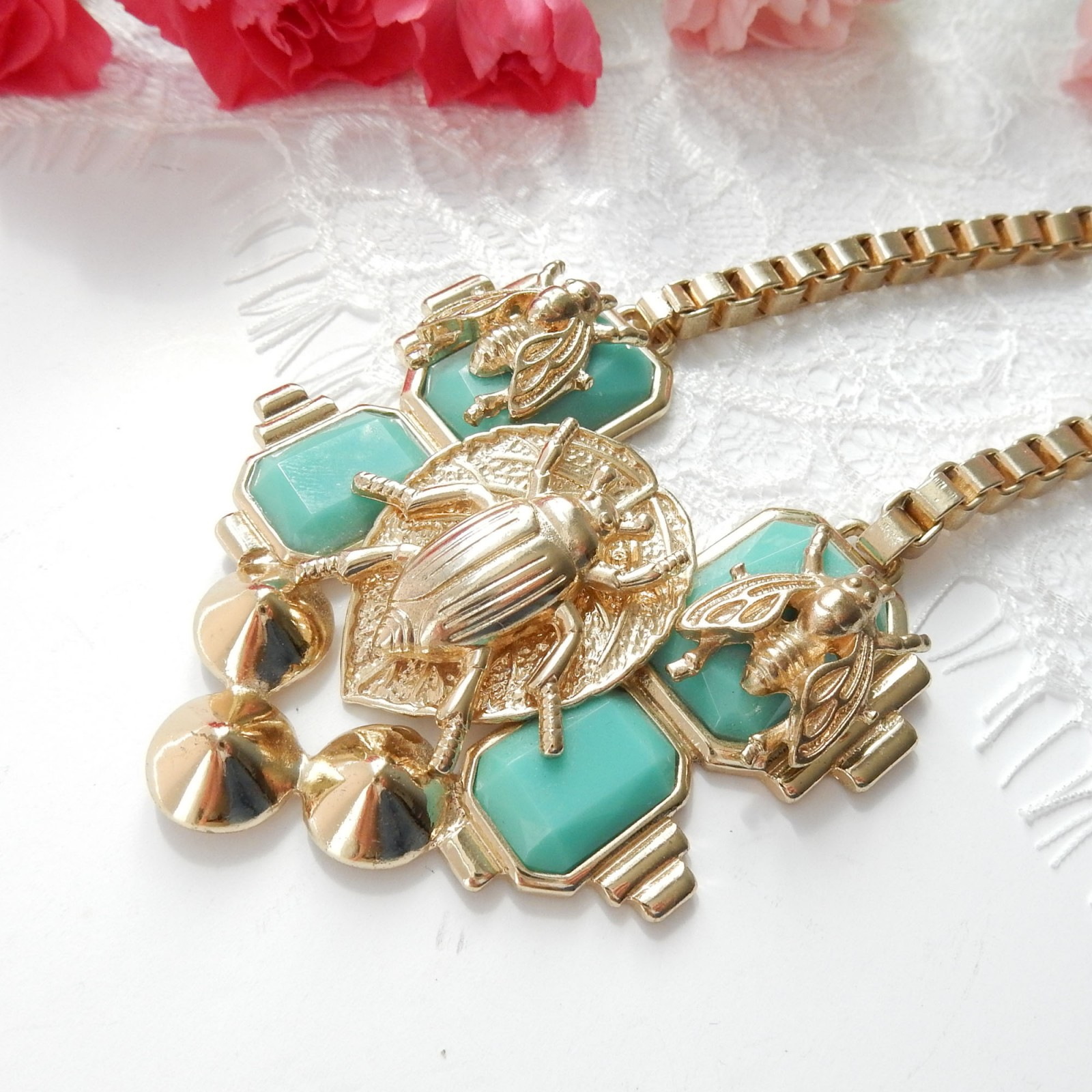 Photo of Vintage Gold Tone Turquoise Egyptian Revival Scarab Beetle Necklace Chunky Gold Box Chain