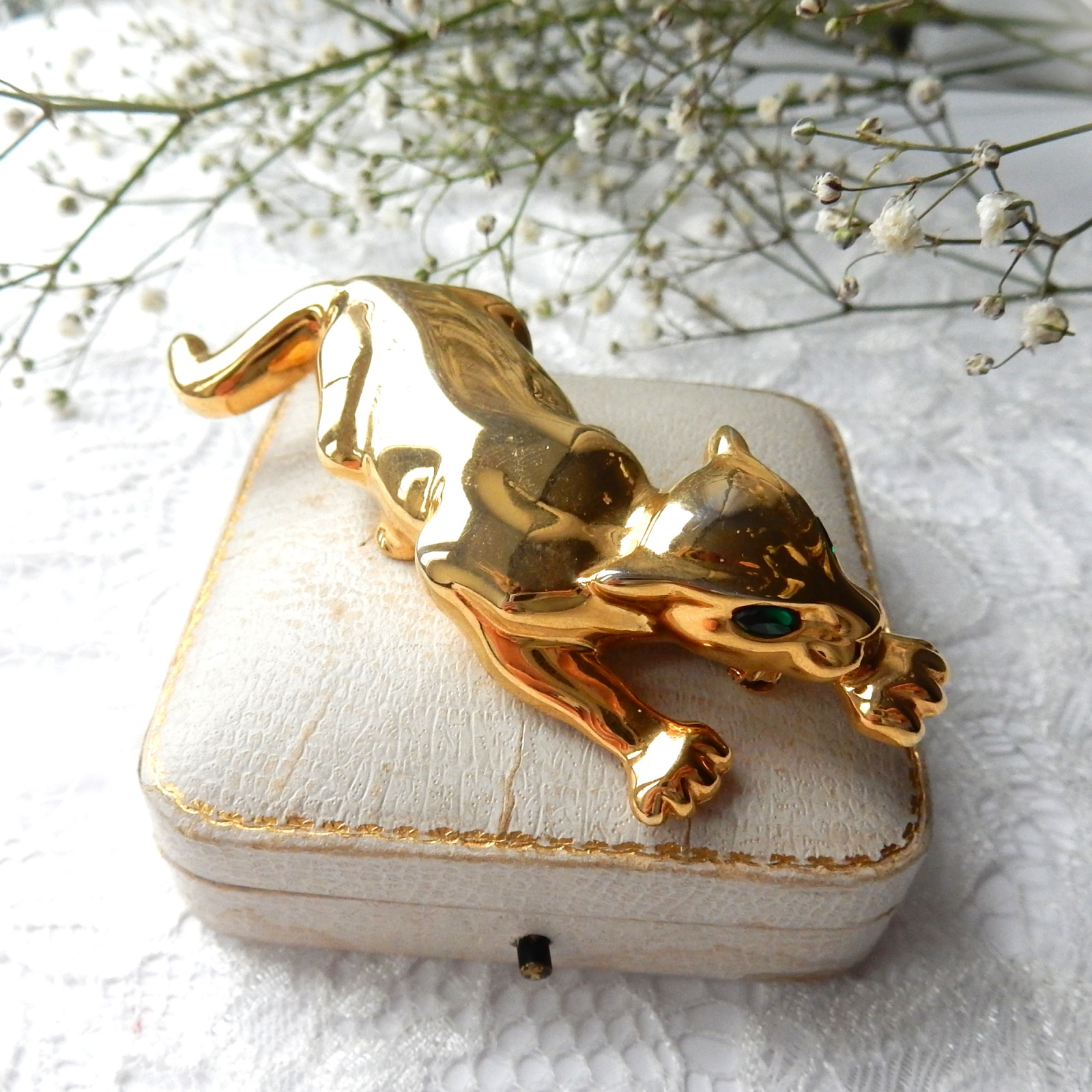 Photo of Vintage Gold Wild Cat Panther Brooch Green Eyes