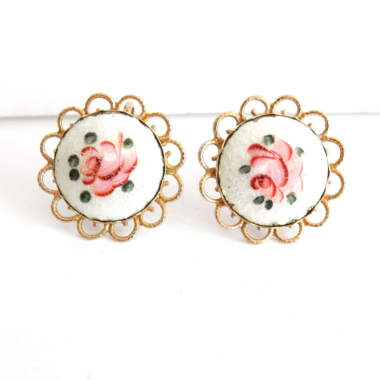 Photo of Vintage Hand Painted Enamel Coro Clip on Earrings Signed