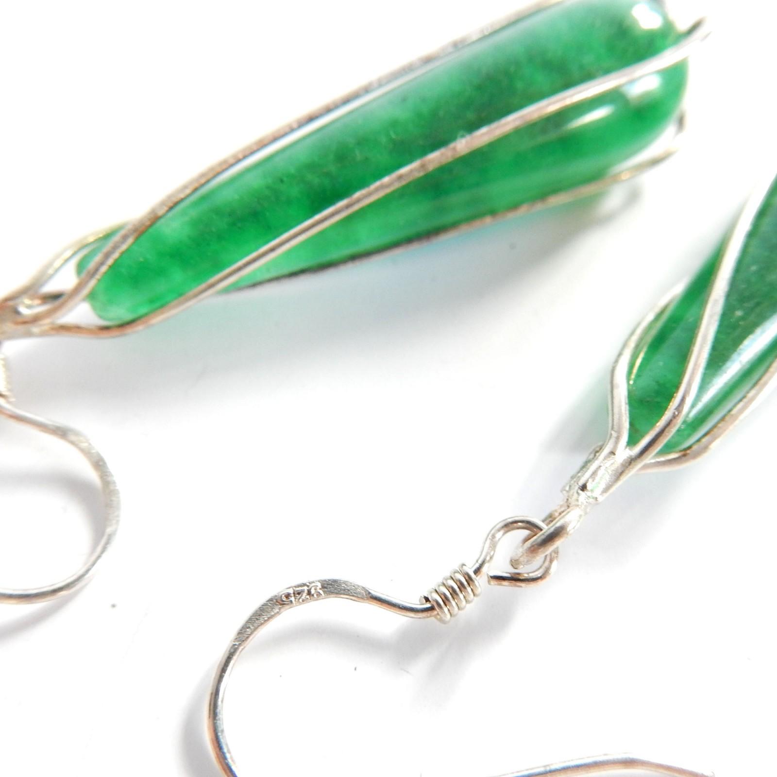 Photo of Vintage Jade Earrings Pendant Jewelery Set Sterling Silver