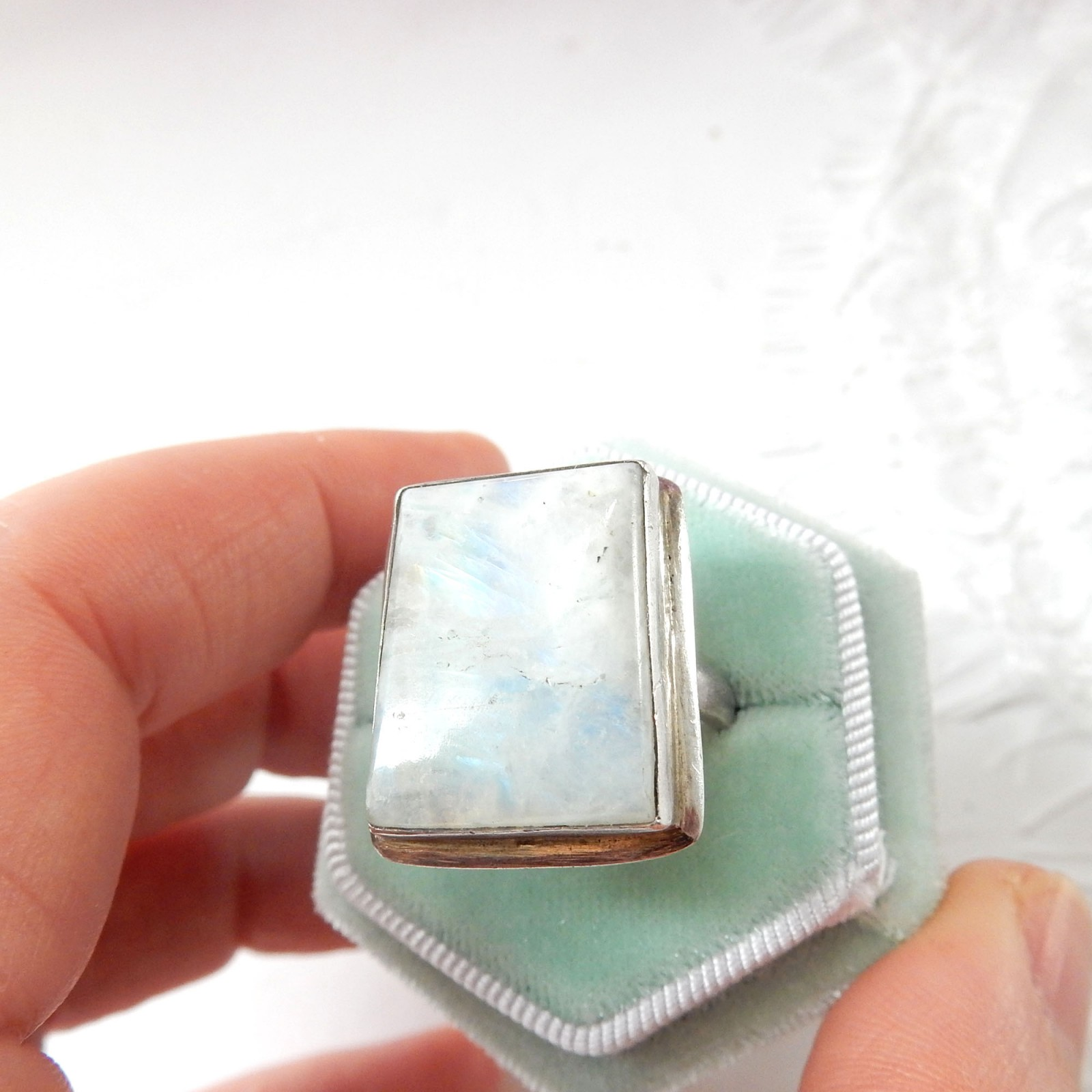 Photo of Vintage Moonstone Ring Sterling Silver US Size 8 June Birthstone