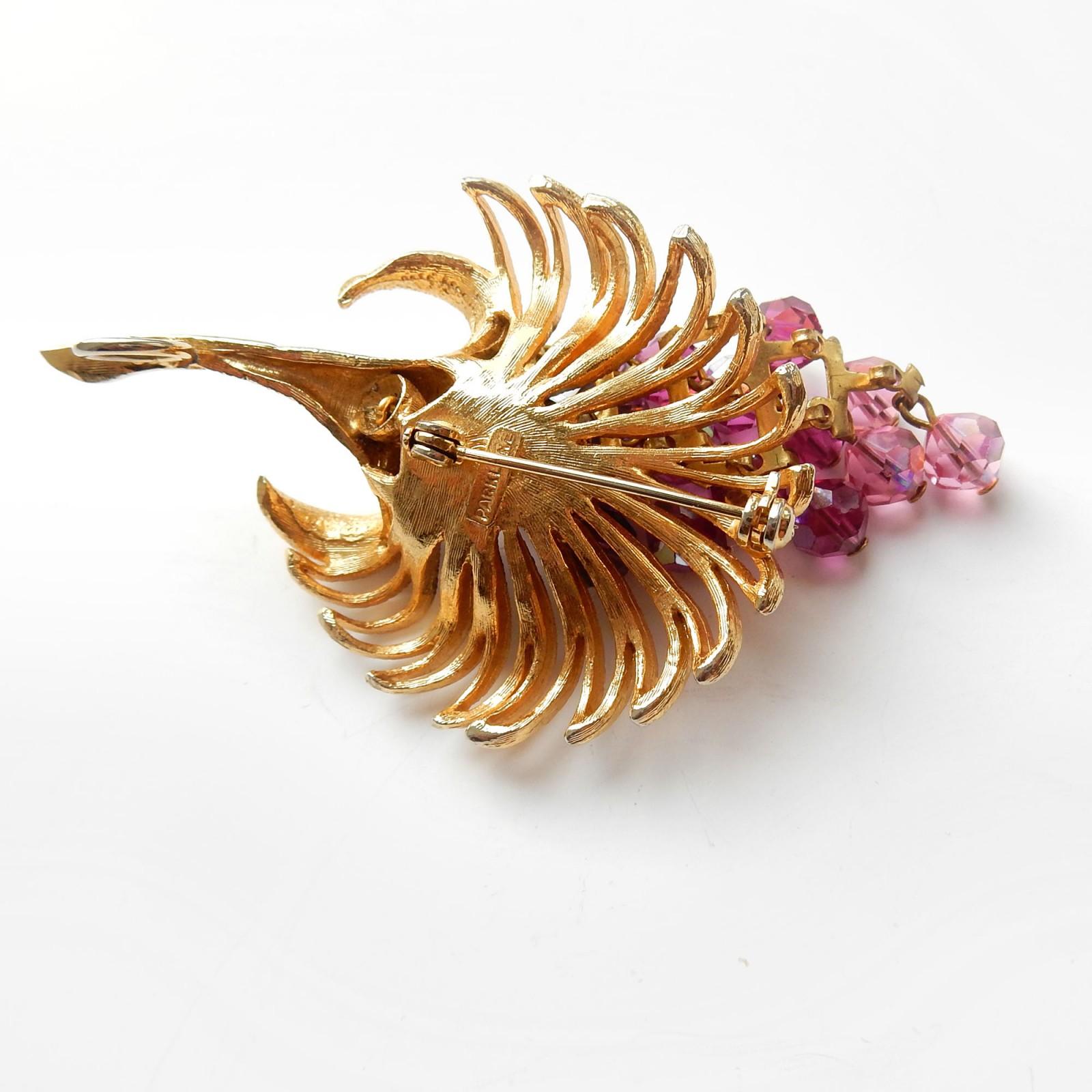 Photo of Vintage Park Lane Flower Crystal Goldtone Brooch