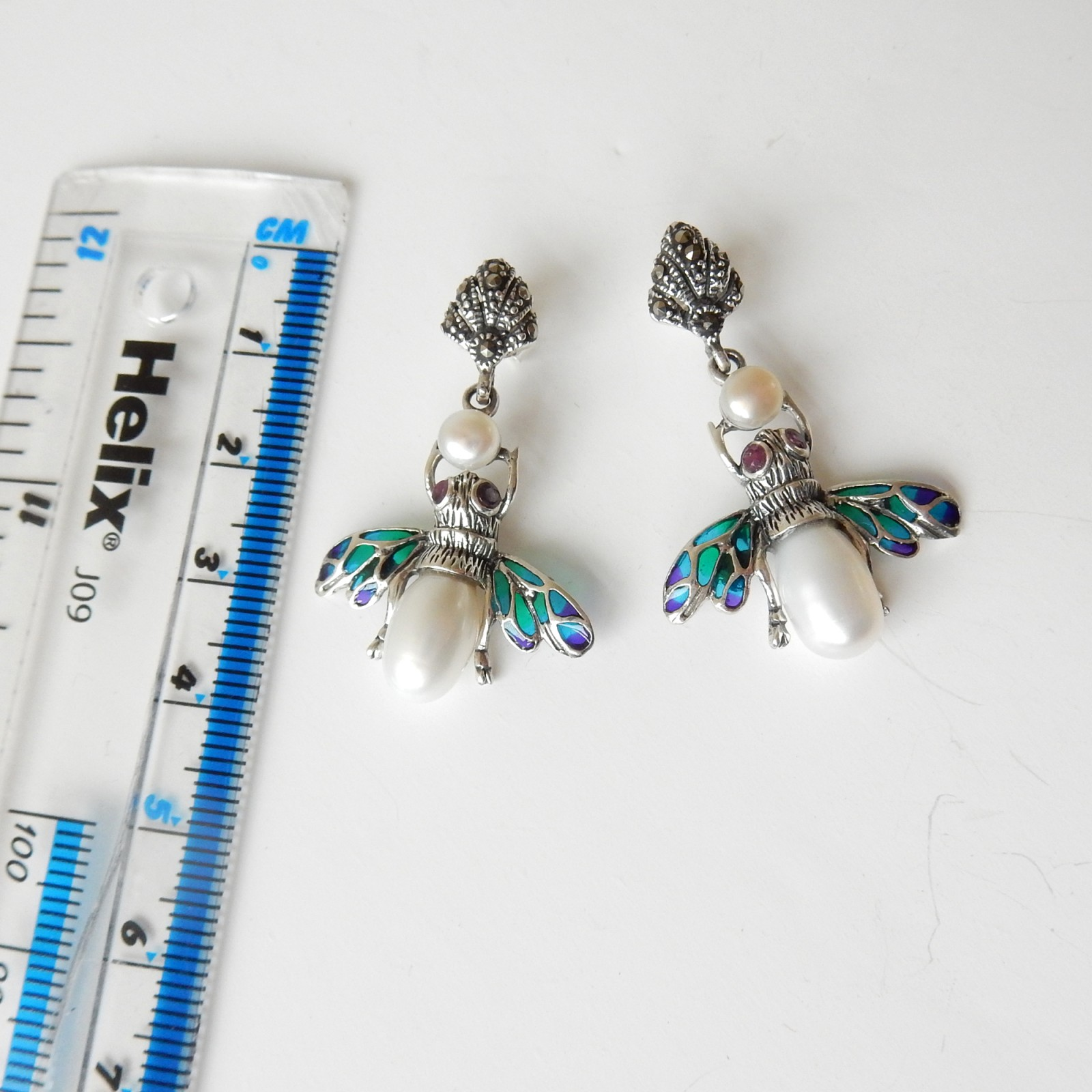 Photo of Vintage Pearl Ruby Wasp Earrings Solid Silver