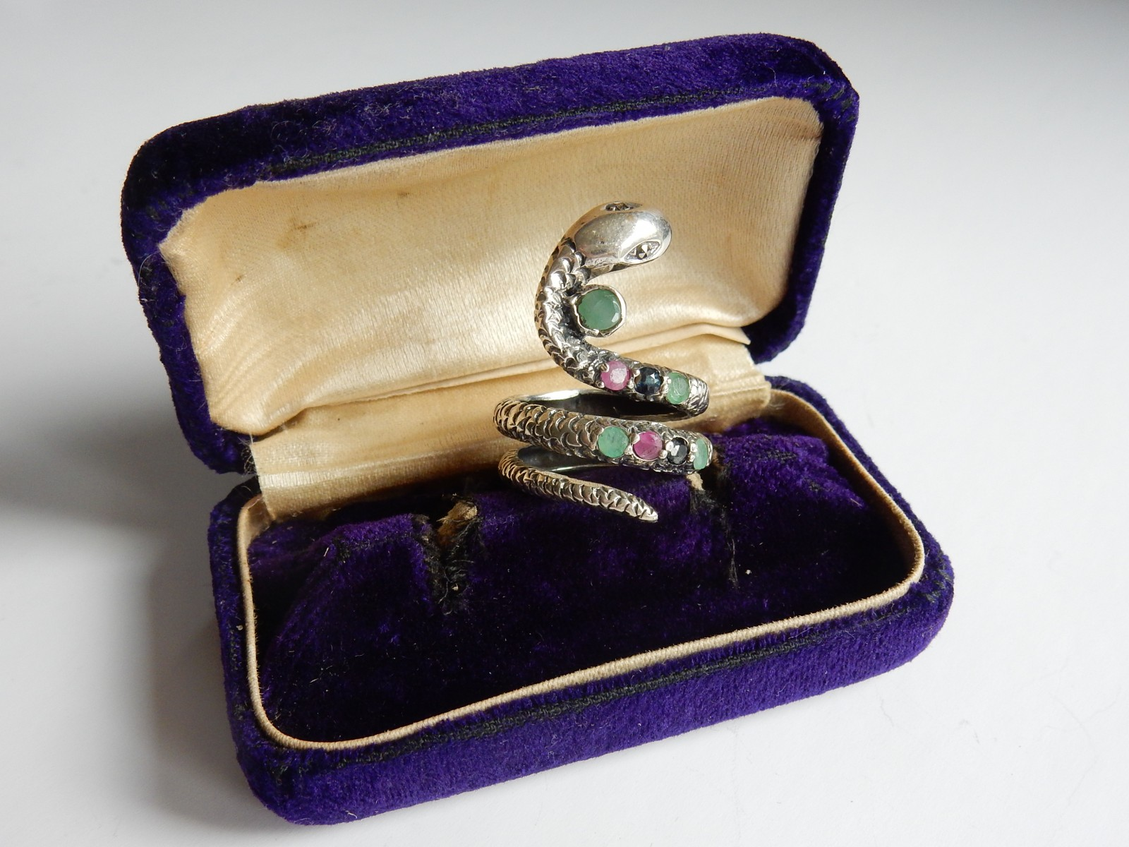Photo of Vintage Ruby & Emerald Snake Ring Sterling Silver Ring