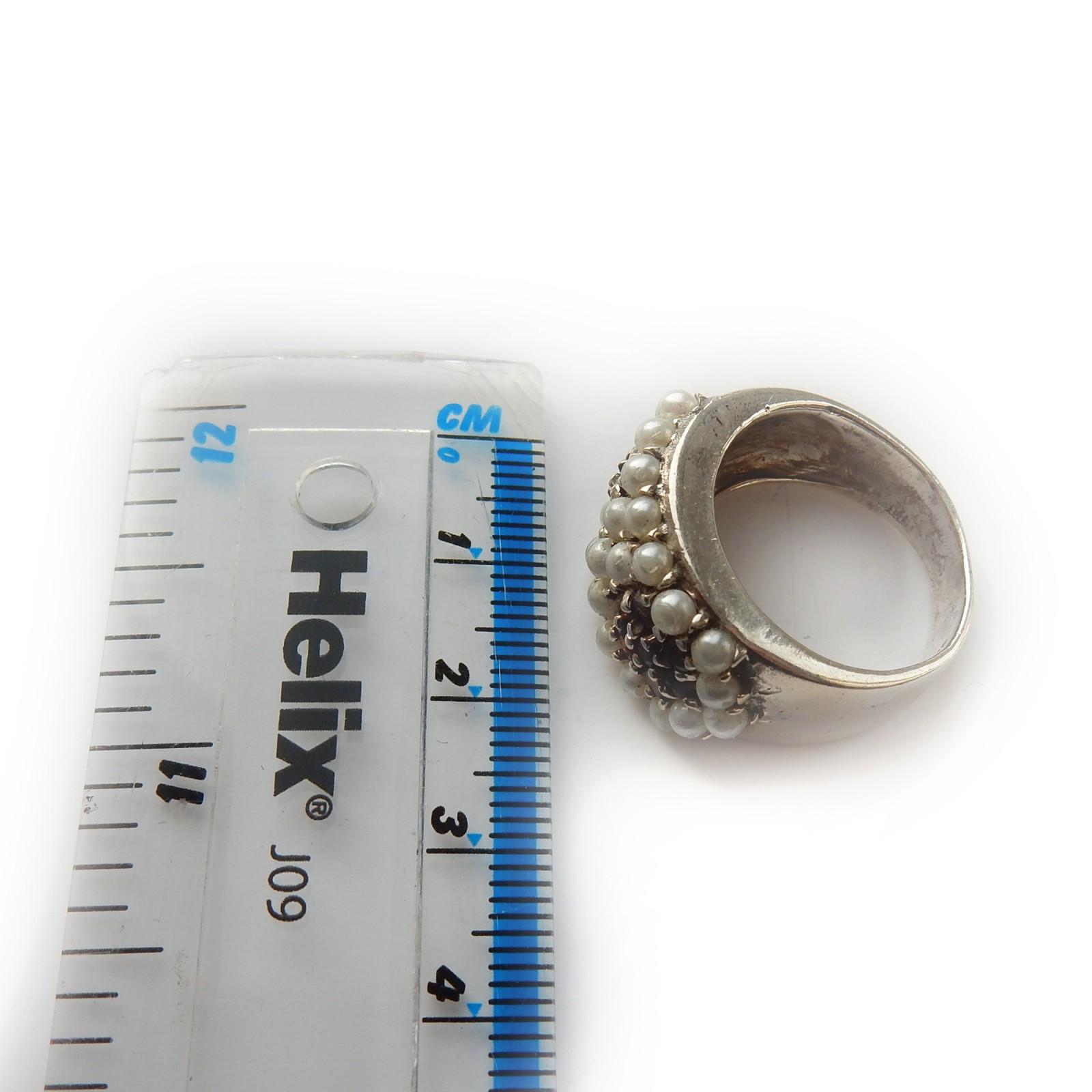 Sterling Silver Vintage Garnet and Seed Pearl Filigree Pendant