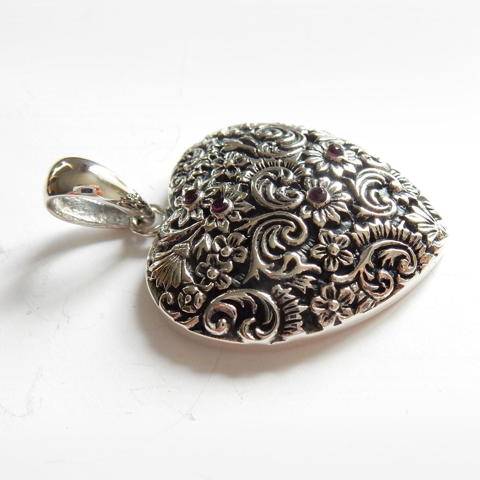 Photo of Vintage Silver Filigree Ruby Heart Pendant