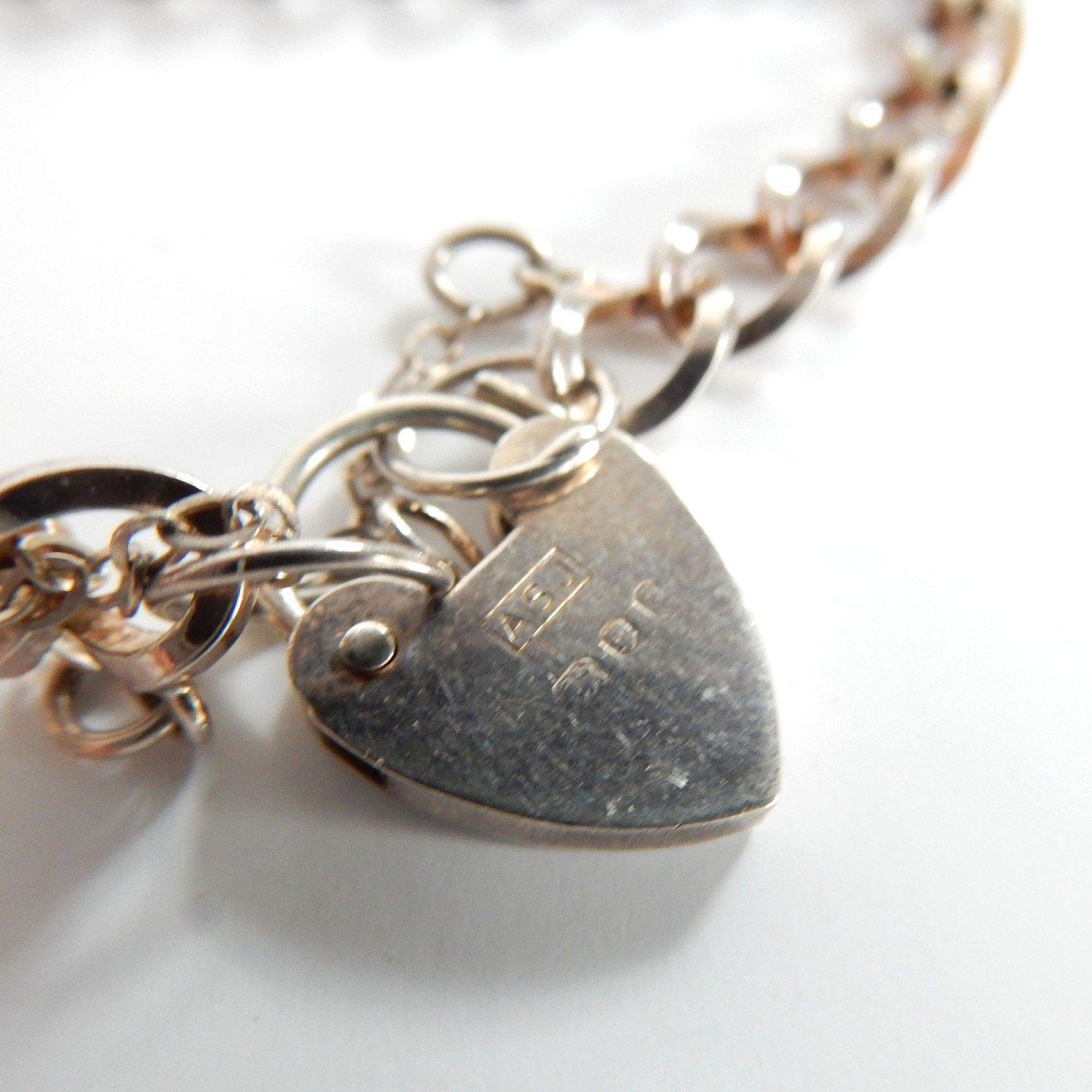 Photo of Vintage Sterling Silver Heart Padlock Bracelet ASJ London