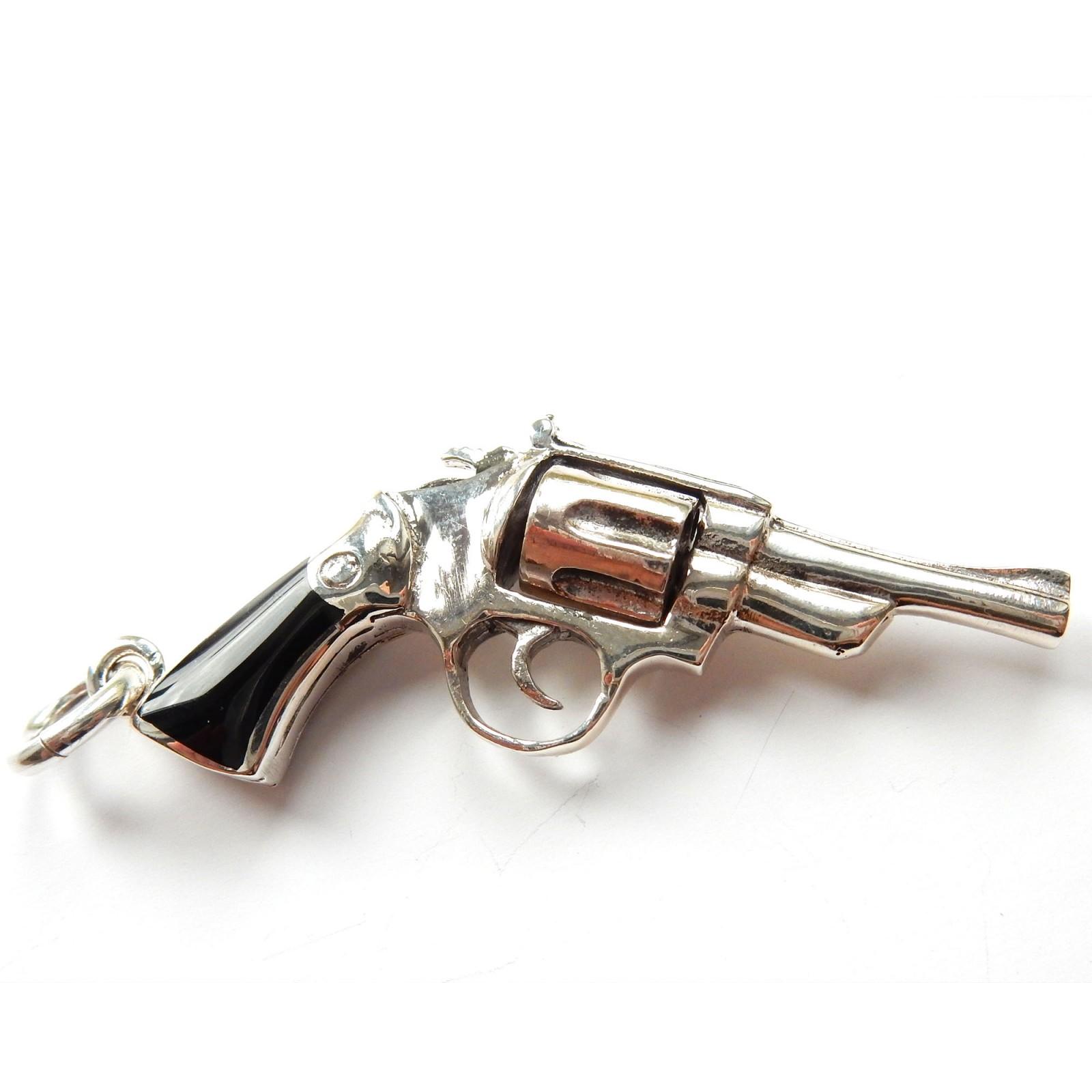 Photo of Vintage Sterling Silver Pistol Gun Shooting Pendant Charm