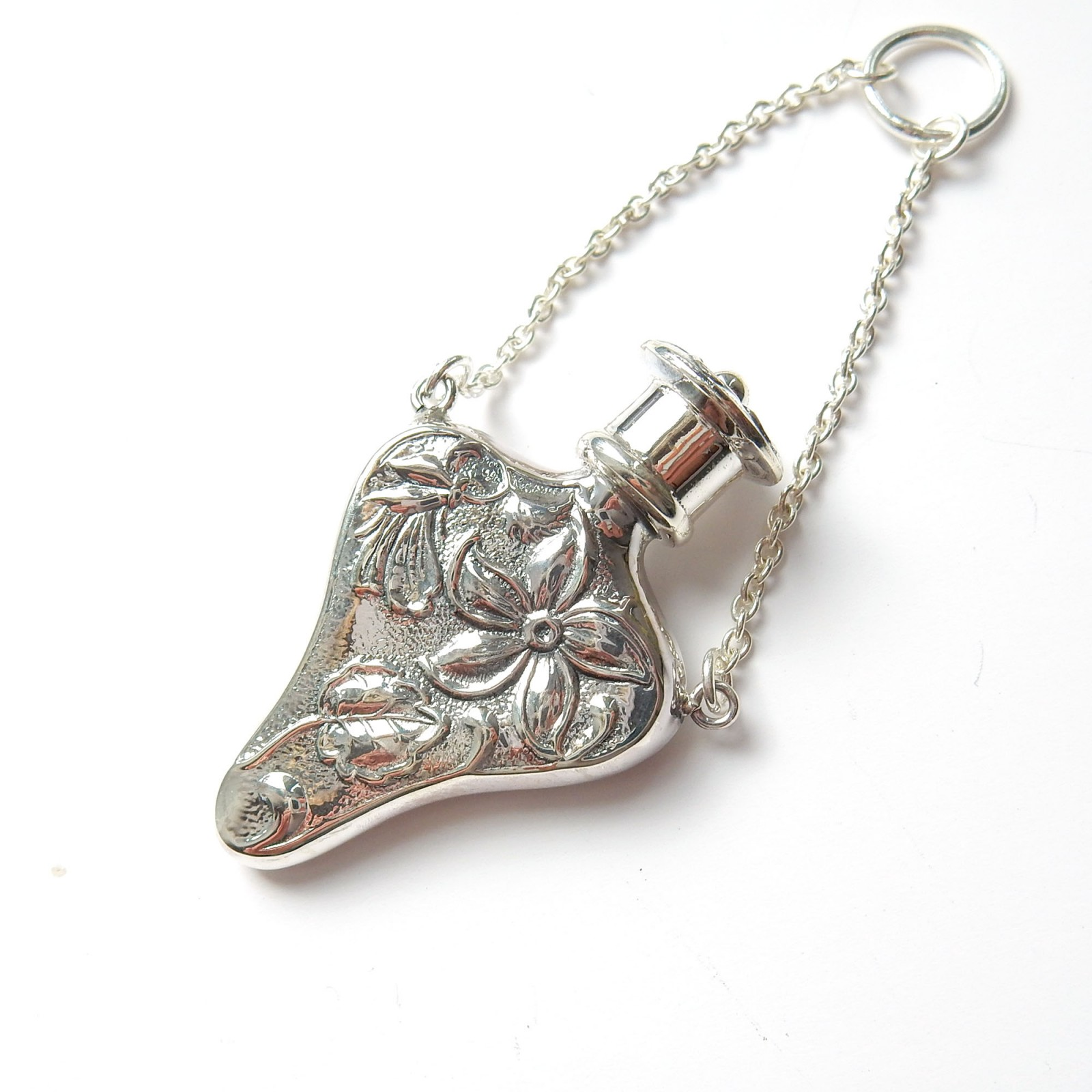 Photo of Vintage Sterling Silver Repousee Chatelaine Scent Bottle Holder