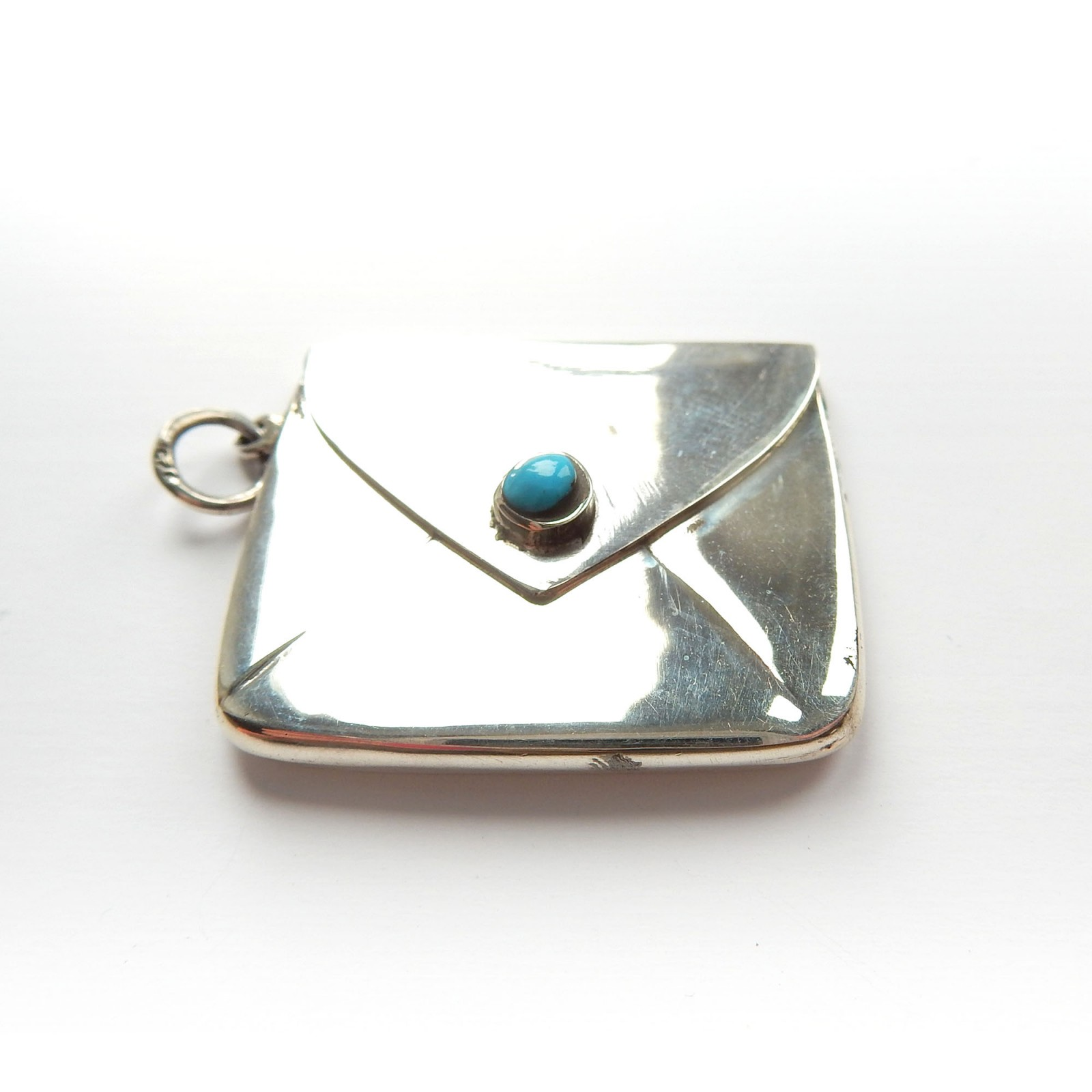 Photo of Vintage Turquoise Sterling Silver Stamp Box Holder Pendant