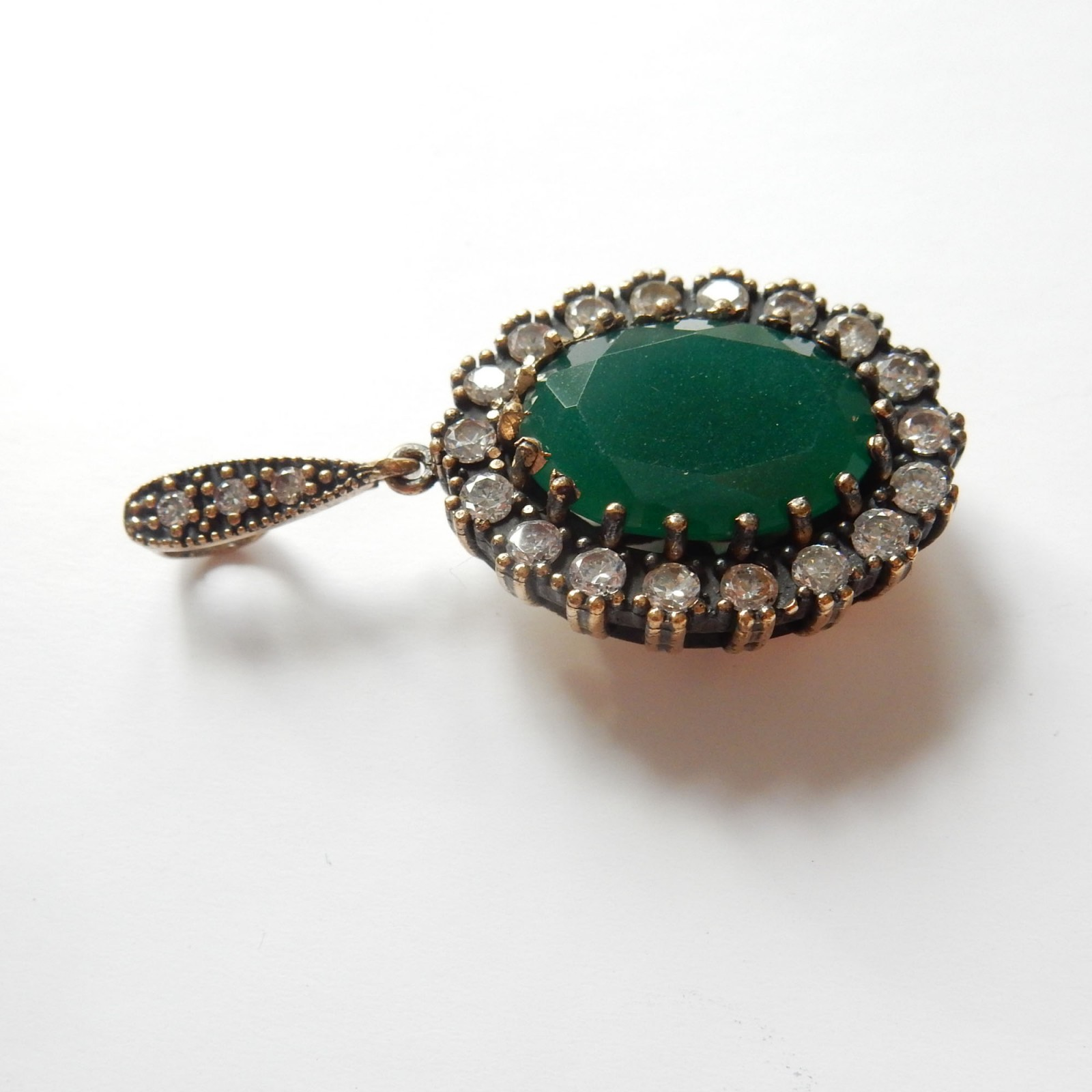 Photo of Vintage Vermeil Silver Green Chalcedony Pendant Sterling Silver
