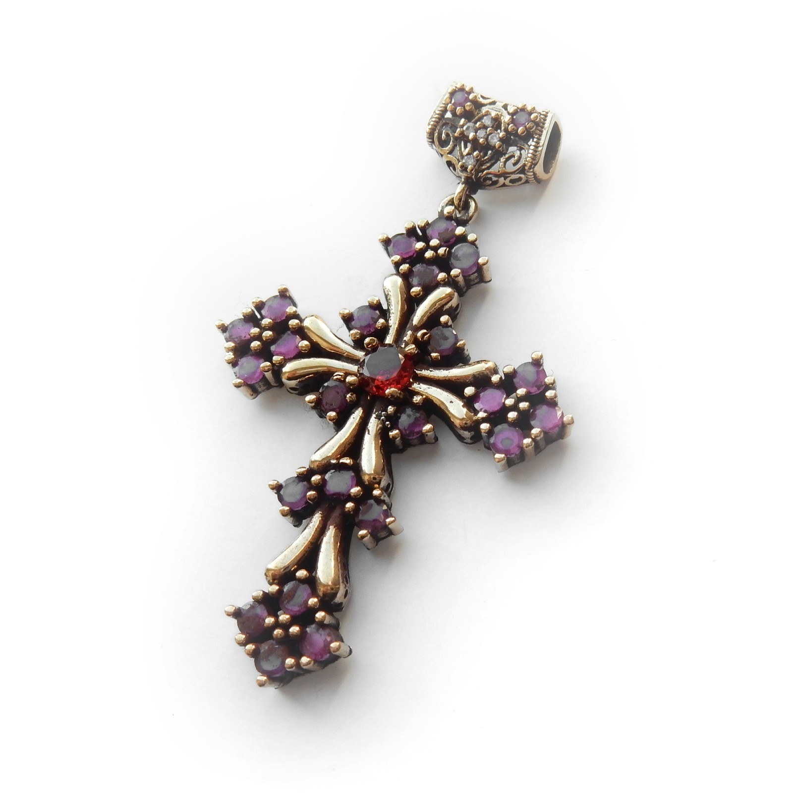 Photo of Vintage Vermeil Sterling Silver Red Chalcedony Crucifix Pendant