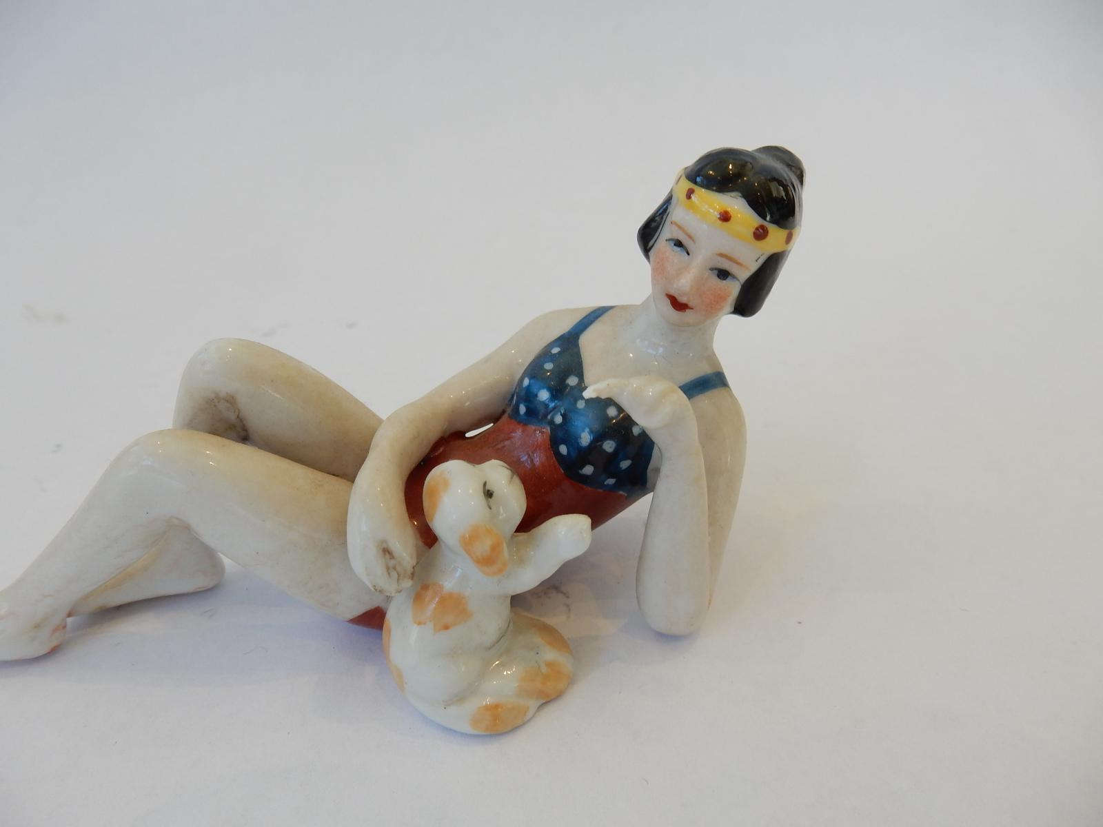 Photo of Art Deco China Lady with Puppy