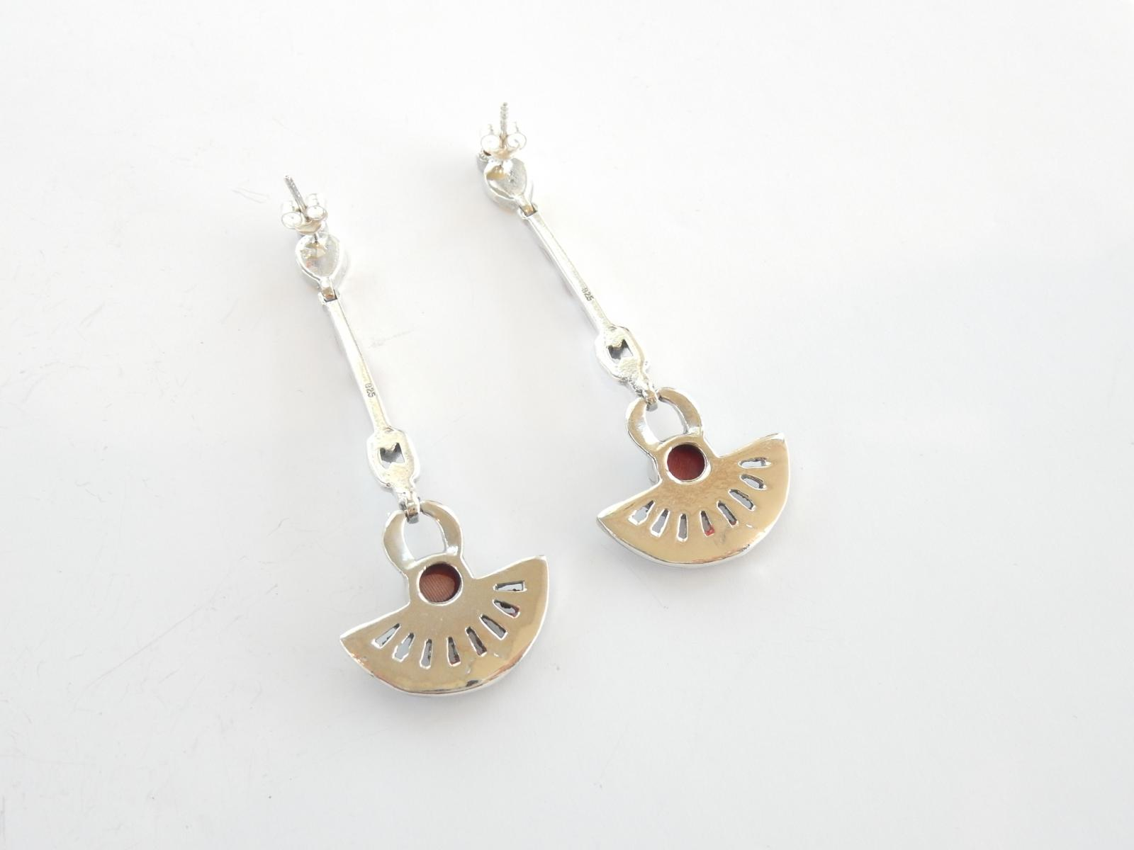 Photo of Art Deco Coral & Marcasite Droplet Earrings